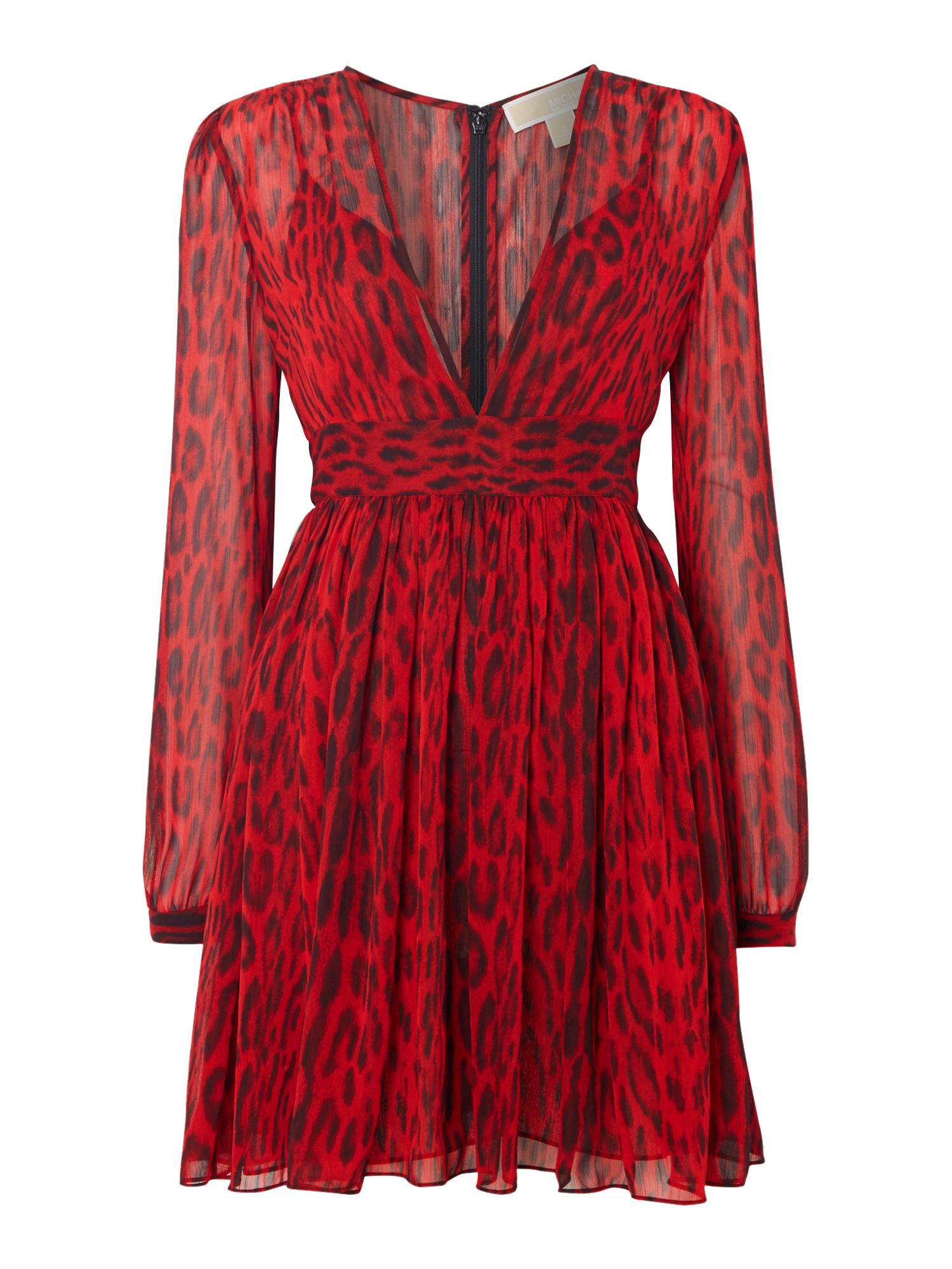 Michael kors Long Sleeve Animal Print Dress in Red  Lyst