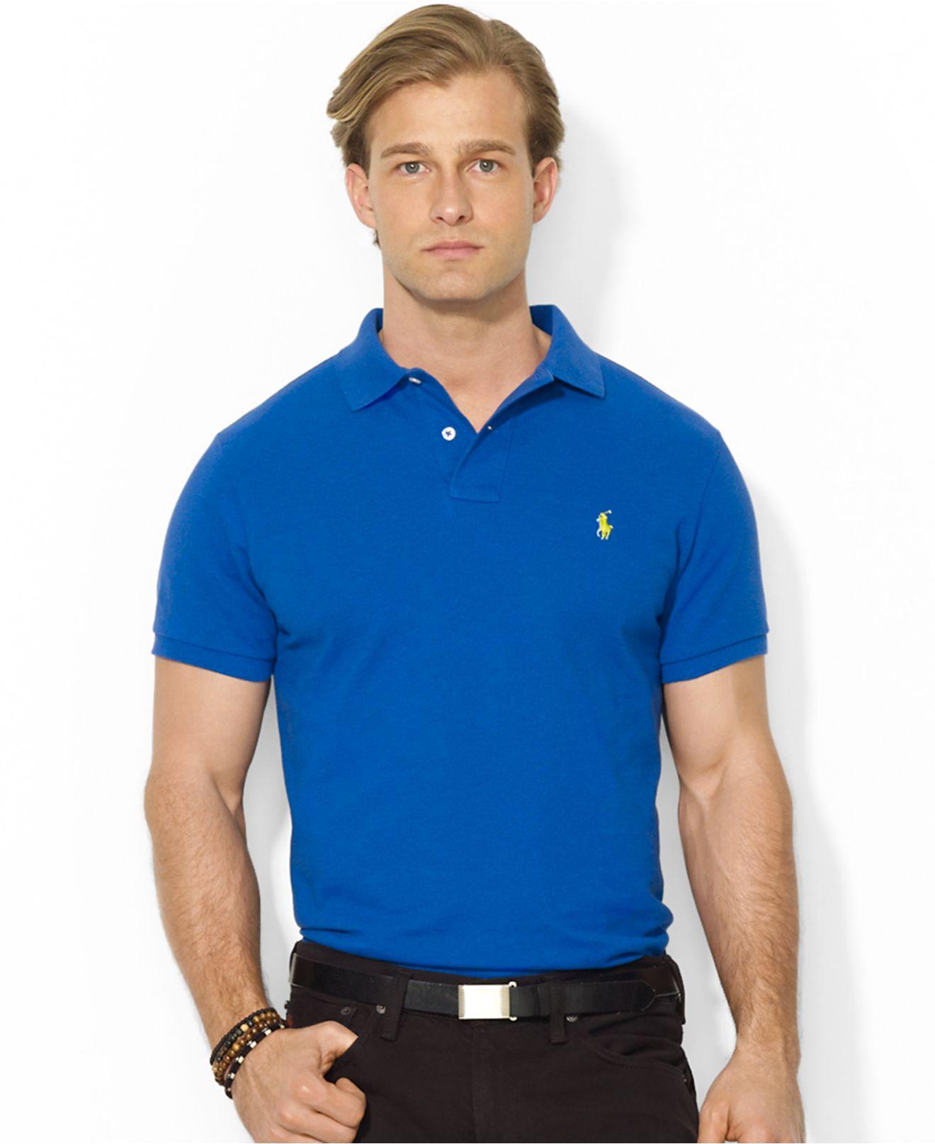 Lyst polo ralph lauren custom fit mesh polo shirt in for Polo ralph lauren custom fit polo shirt