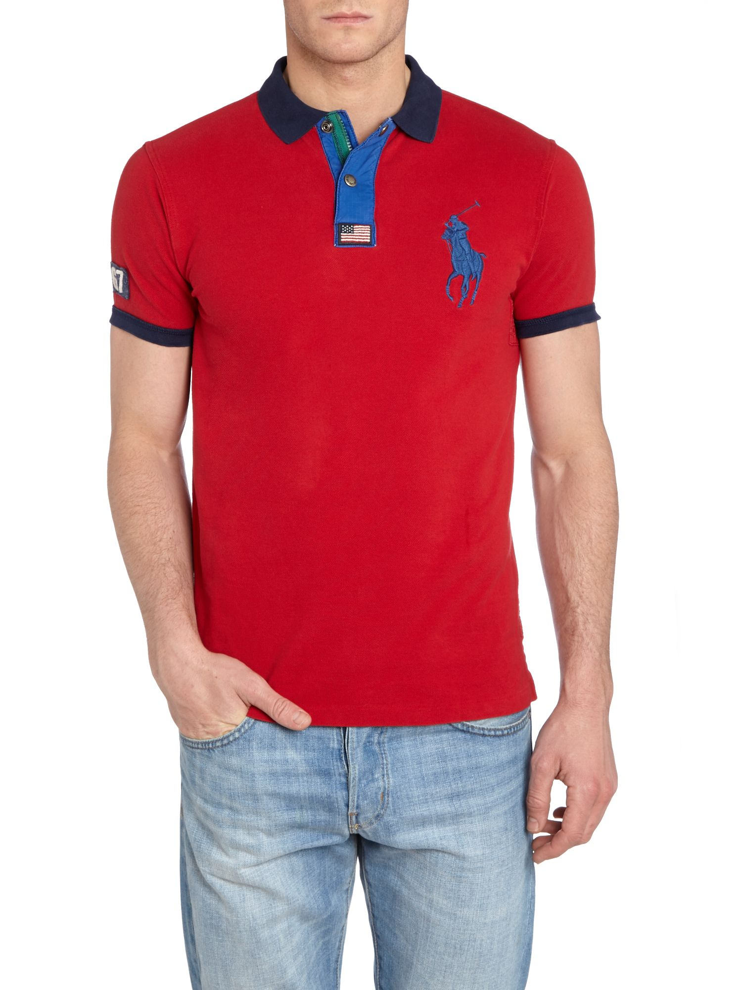 Polo ralph lauren Big Pony Chunky Zip Popper Slim Fit Polo Shirt in Blue for Men