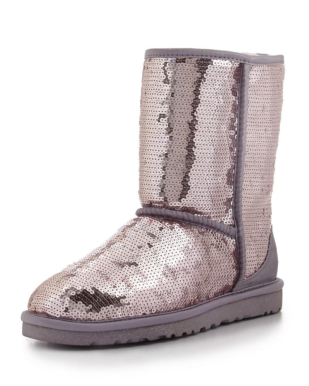ugg sparkles sequin short boot in purple heathered lilac lyst. Black Bedroom Furniture Sets. Home Design Ideas