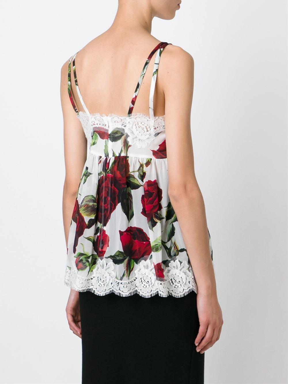 rose print vest top - White Dolce & Gabbana 2018 New Cheap Price Fake ZBNvj
