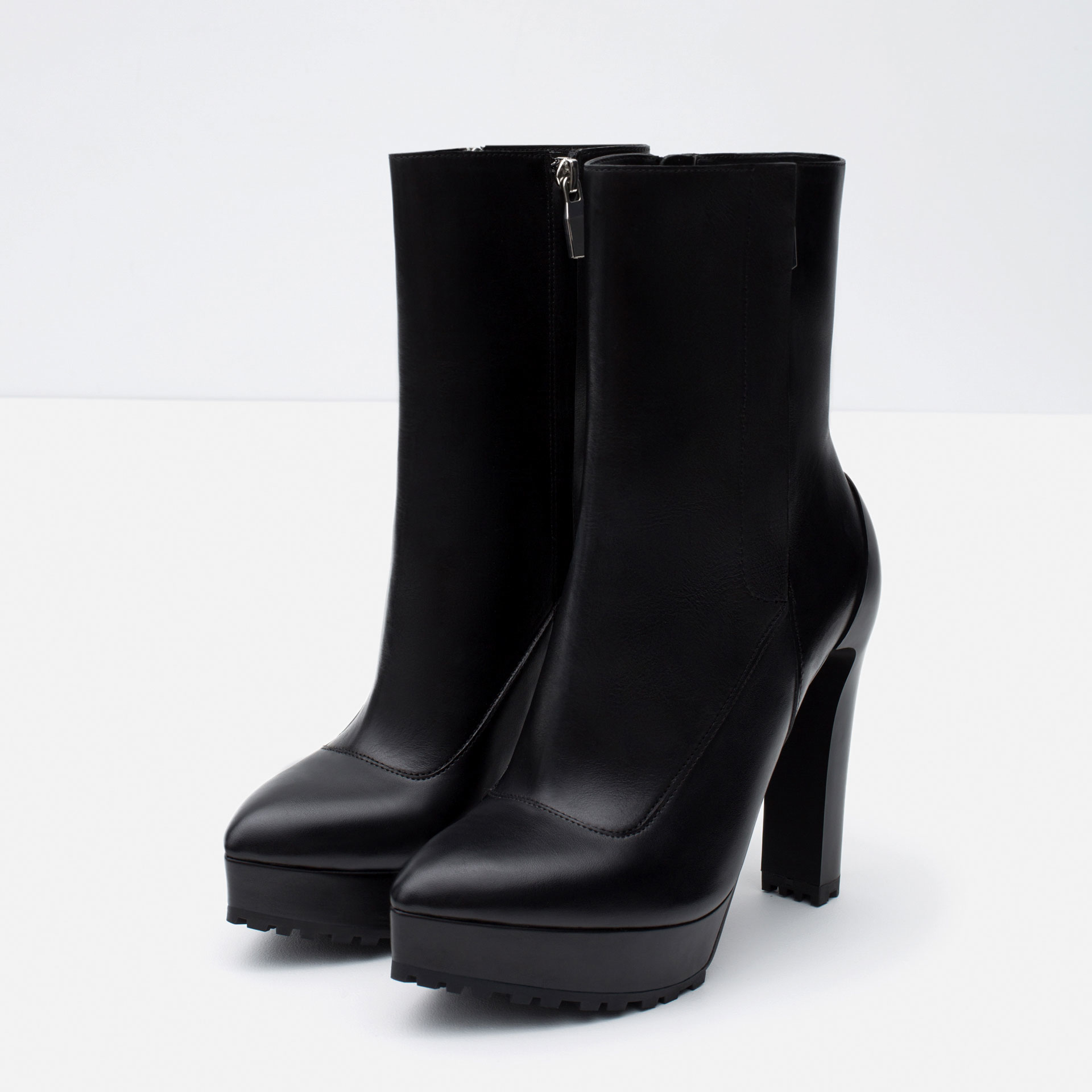 Zara High Heel Leather Ankle Boots in Black | Lyst