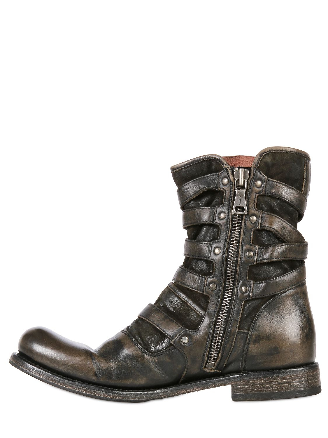 John Varvatos Triple Buckle Cordovan Leather Boots In
