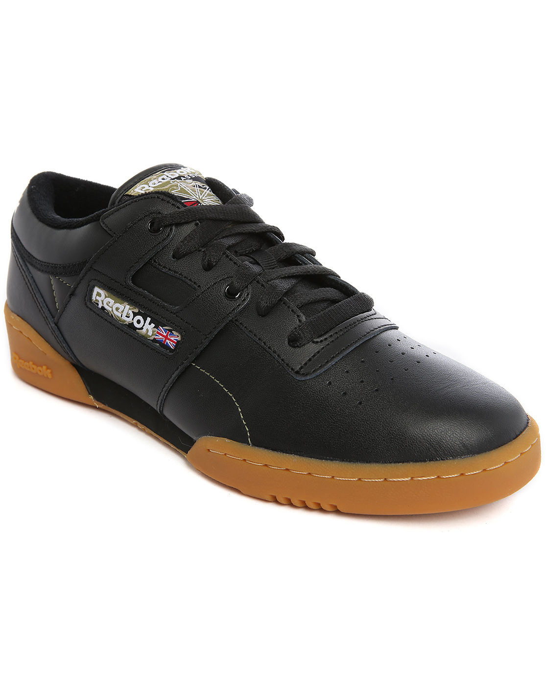 reebok workout leather low top sneakers in black for