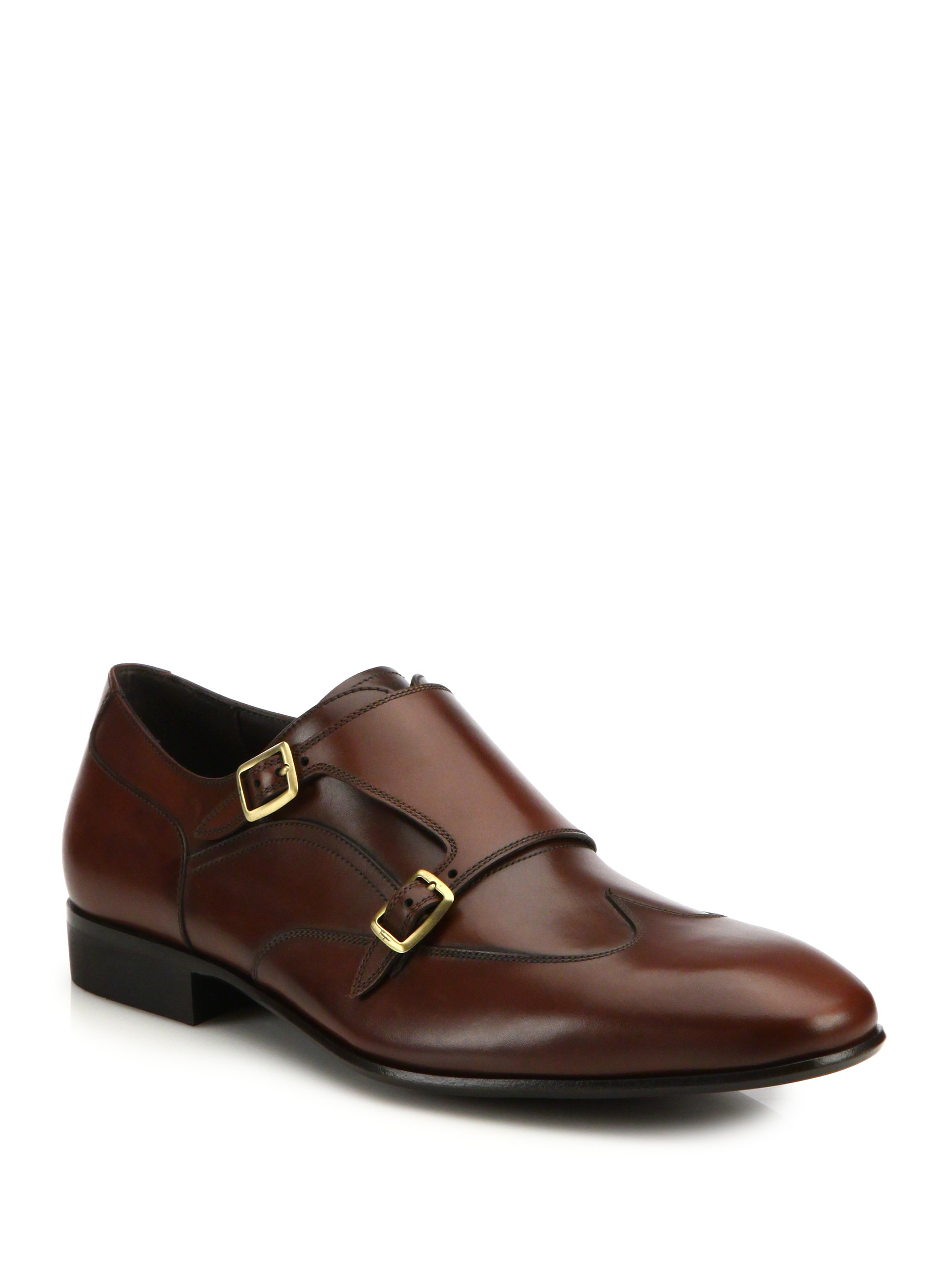 Merida Double Monk Strap Leather Wingtip Shoes