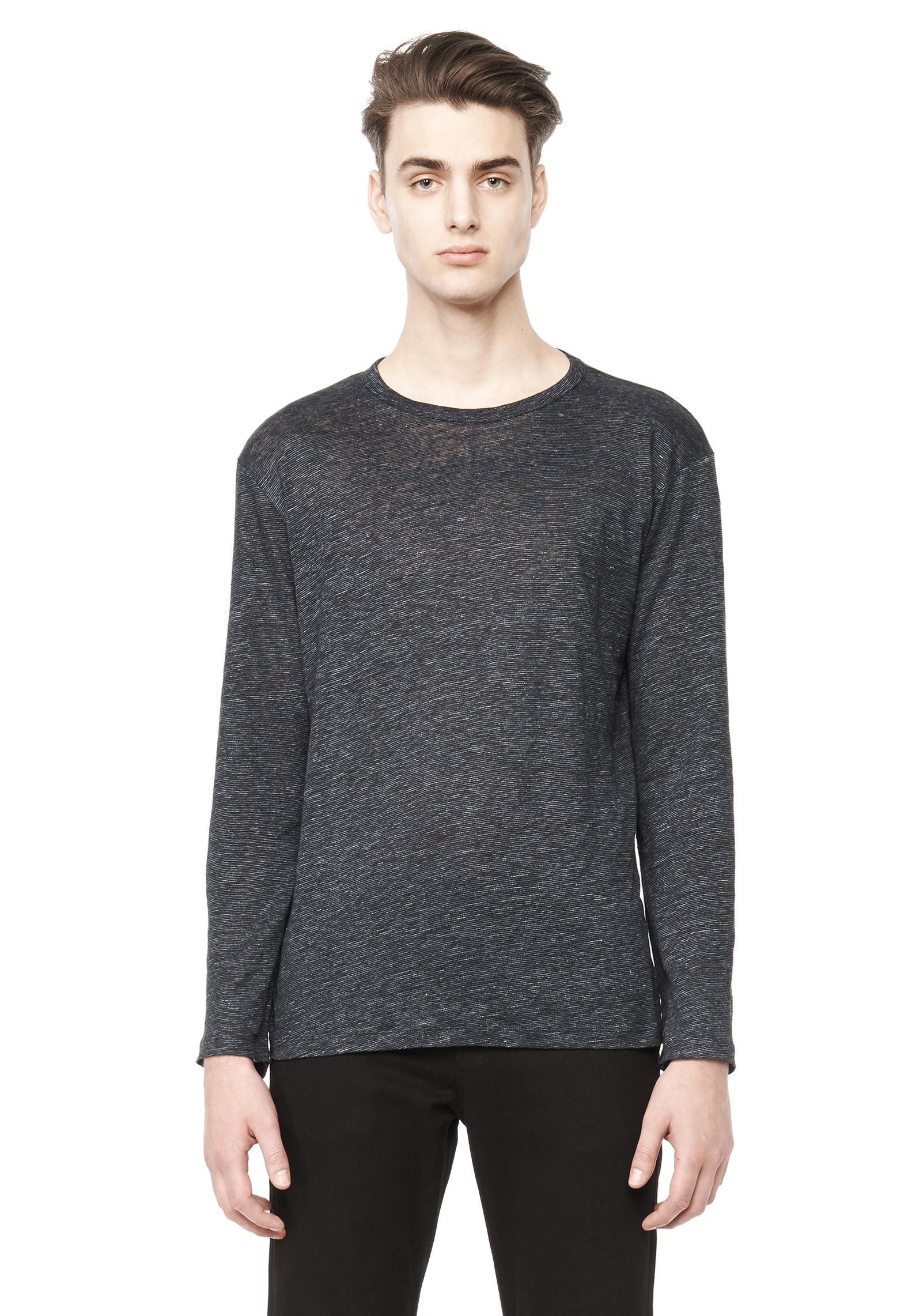 T By Alexander Wang Long Sleeve Linen Shirt In Gray For