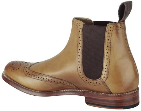 grenson womens brogue chelsea boots in brown for