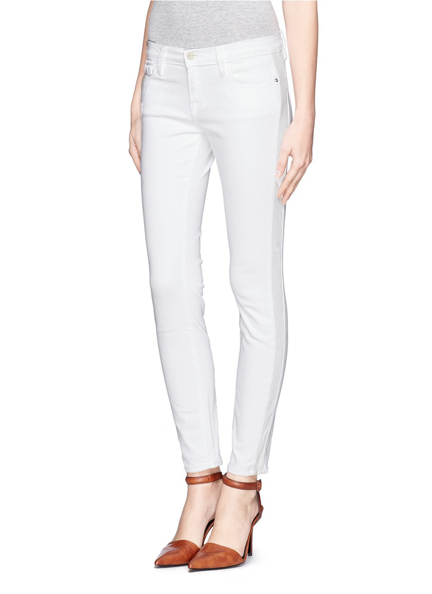 White faux leather skinny jeans