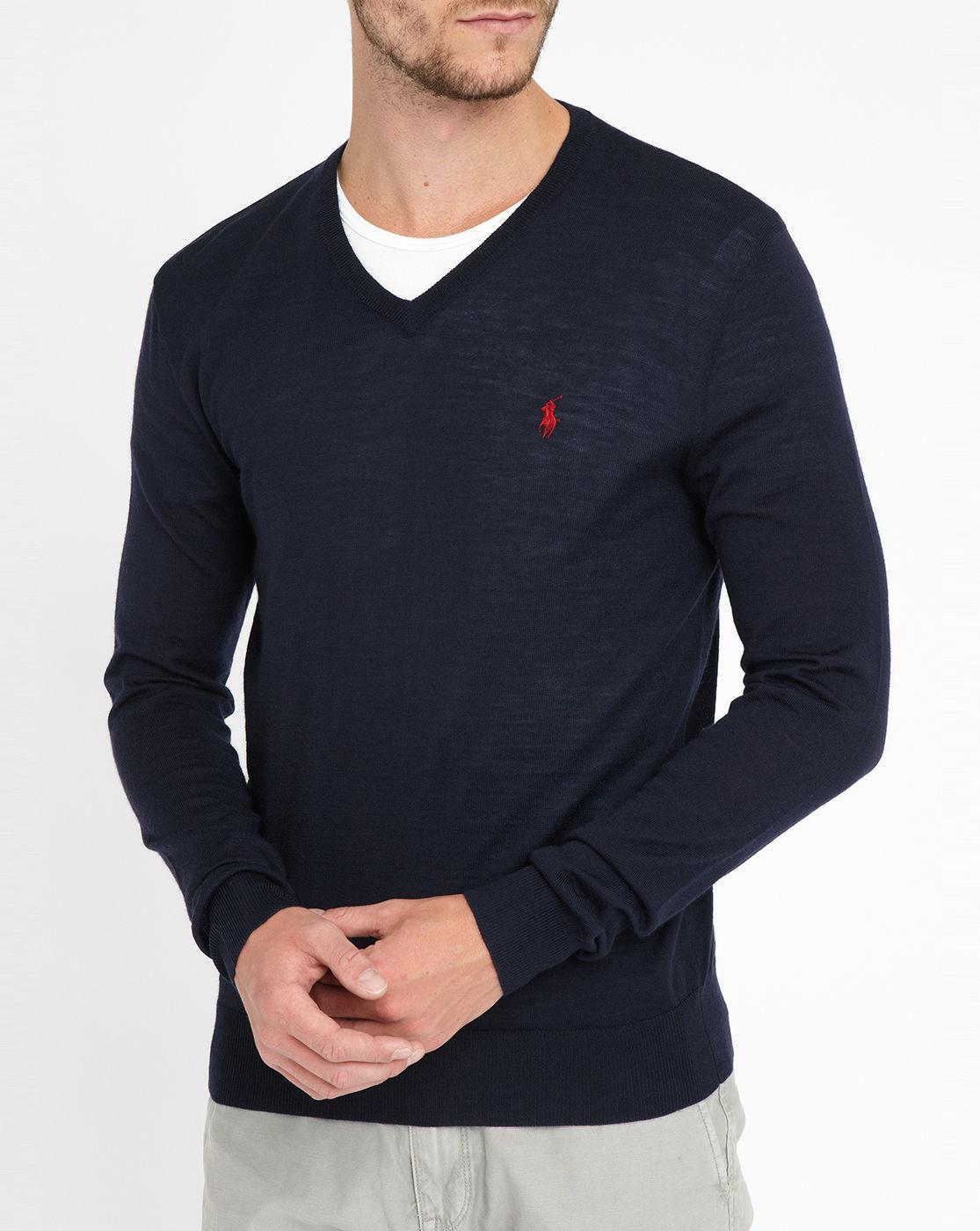 Ralph Lauren Men Cardigan V Neck Mesh Darkblue Sweaters