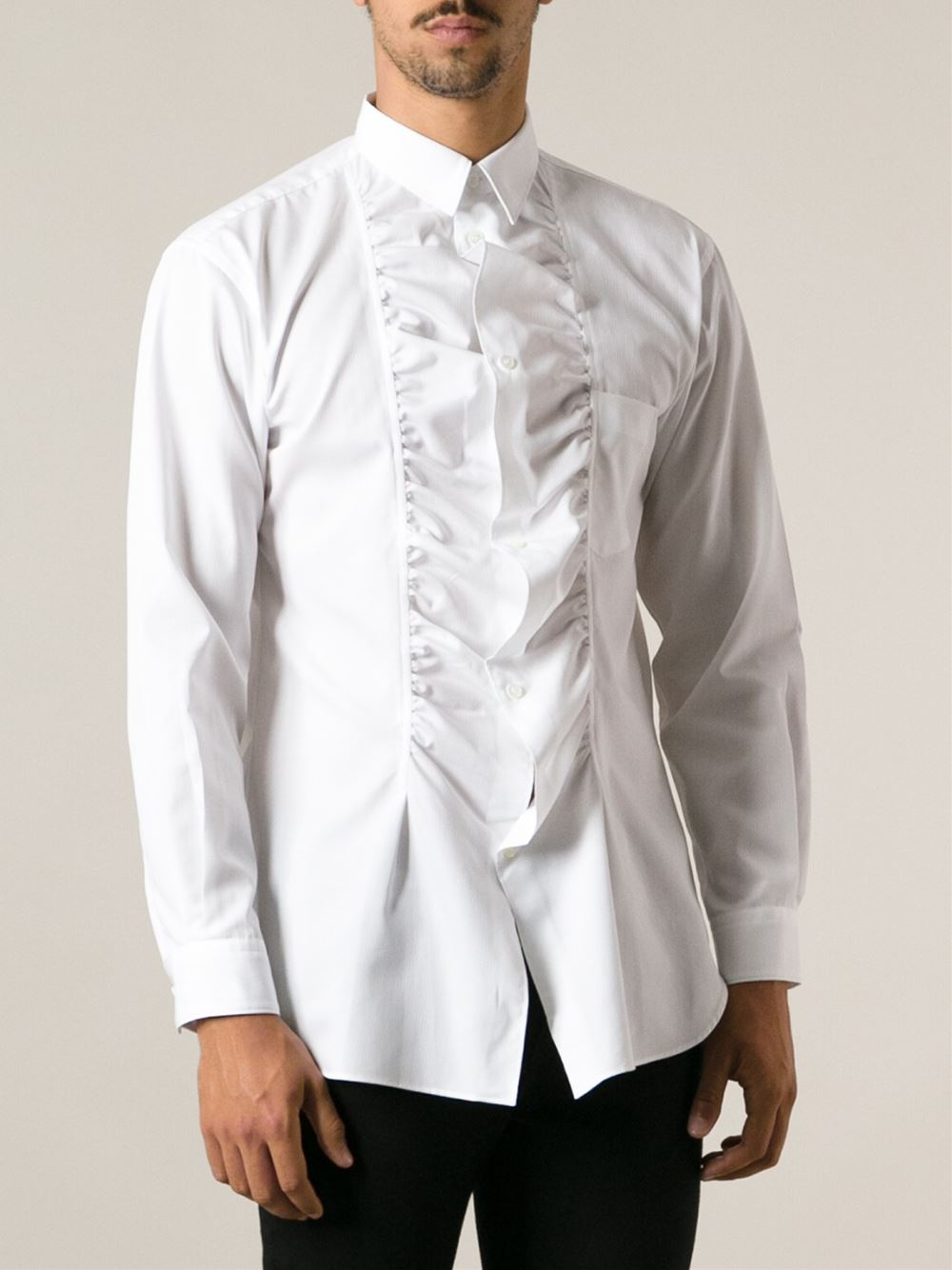 Comme des gar ons ruffled shirt in white for men lyst for Frilly shirts for men