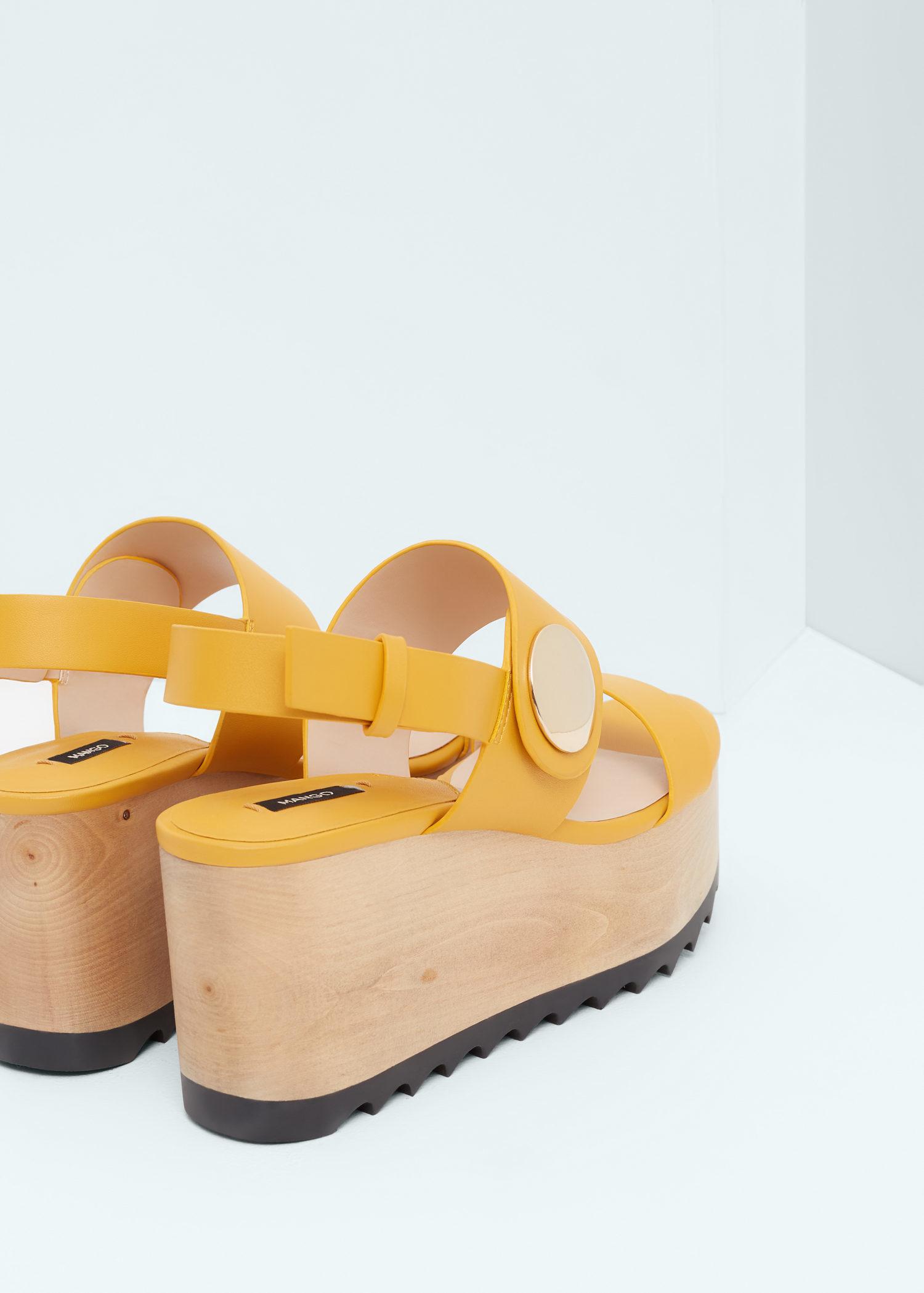 dda6b4572e Mango Platform Strap Sandals in Yellow - Lyst
