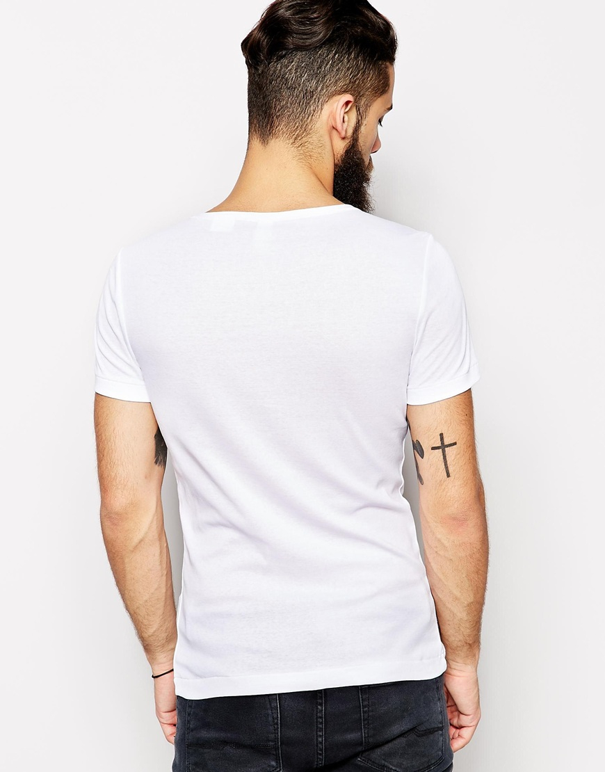 g star raw g star t shirt combred slim fit logo print in white for men lyst. Black Bedroom Furniture Sets. Home Design Ideas
