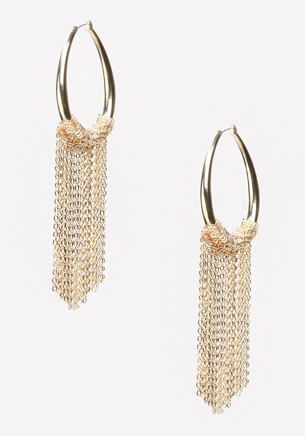 921e0a849 Bebe Chain Fringe Hoop Earrings in Metallic - Lyst