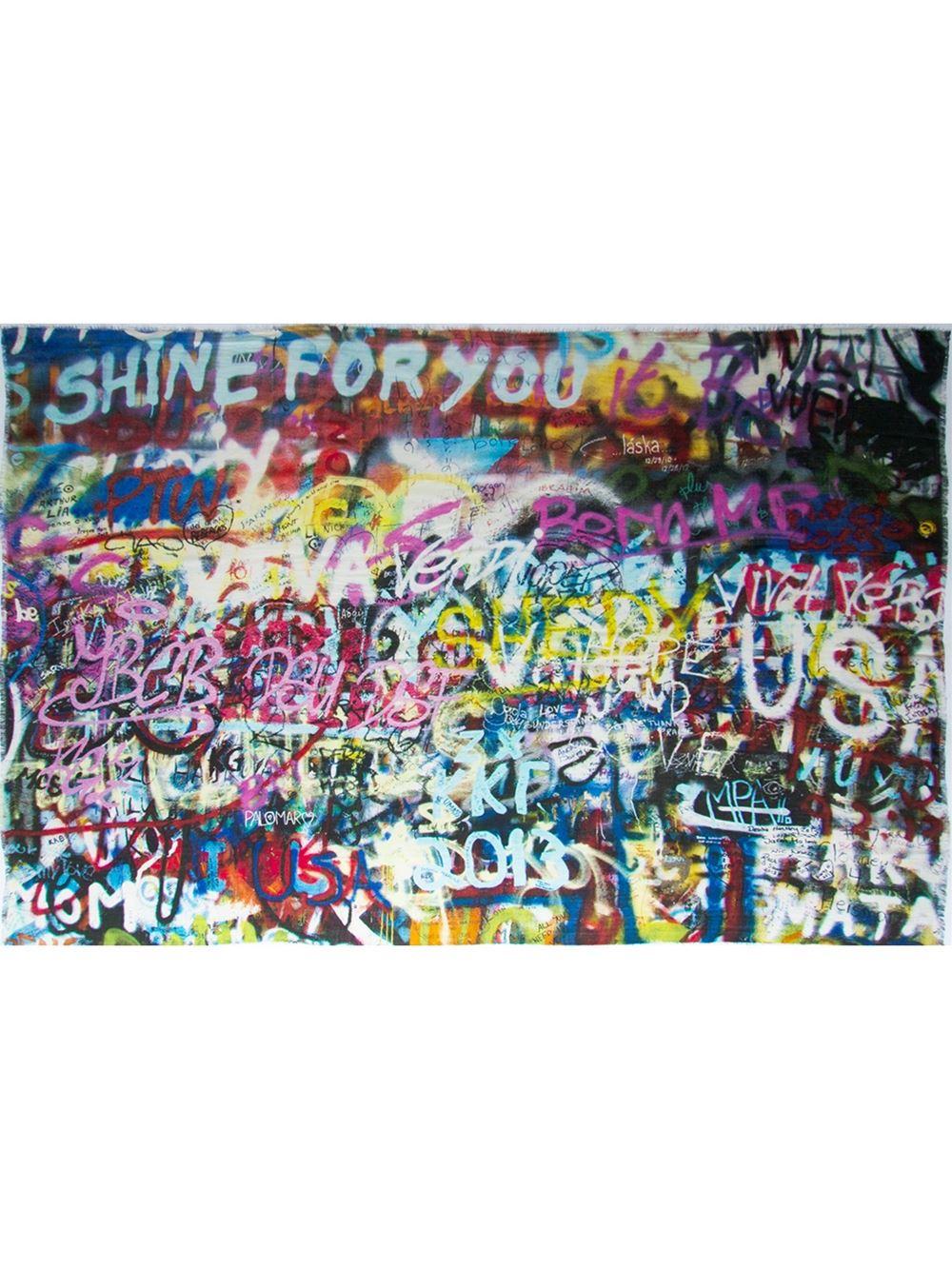 Lyst Maison Passage Graffiti Print Scarf