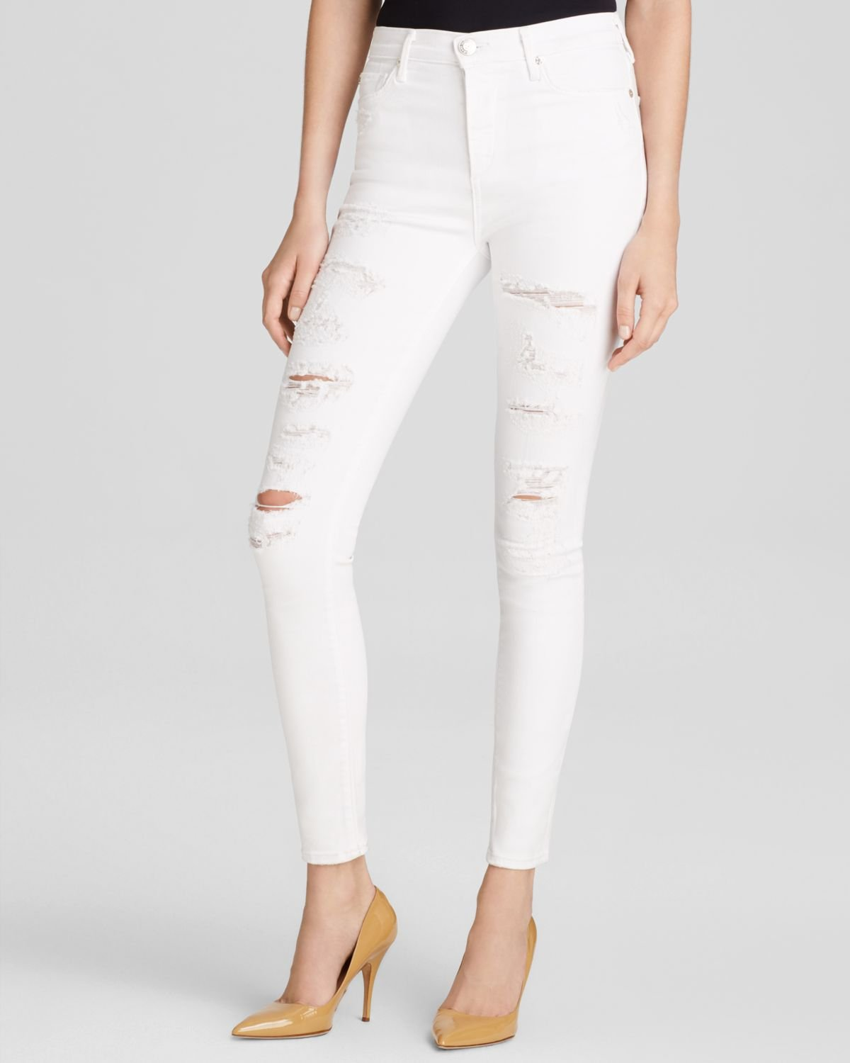 8843325e4 True Religion Jeans - Hall High-rise Skinny In Destroyed Optic White ...