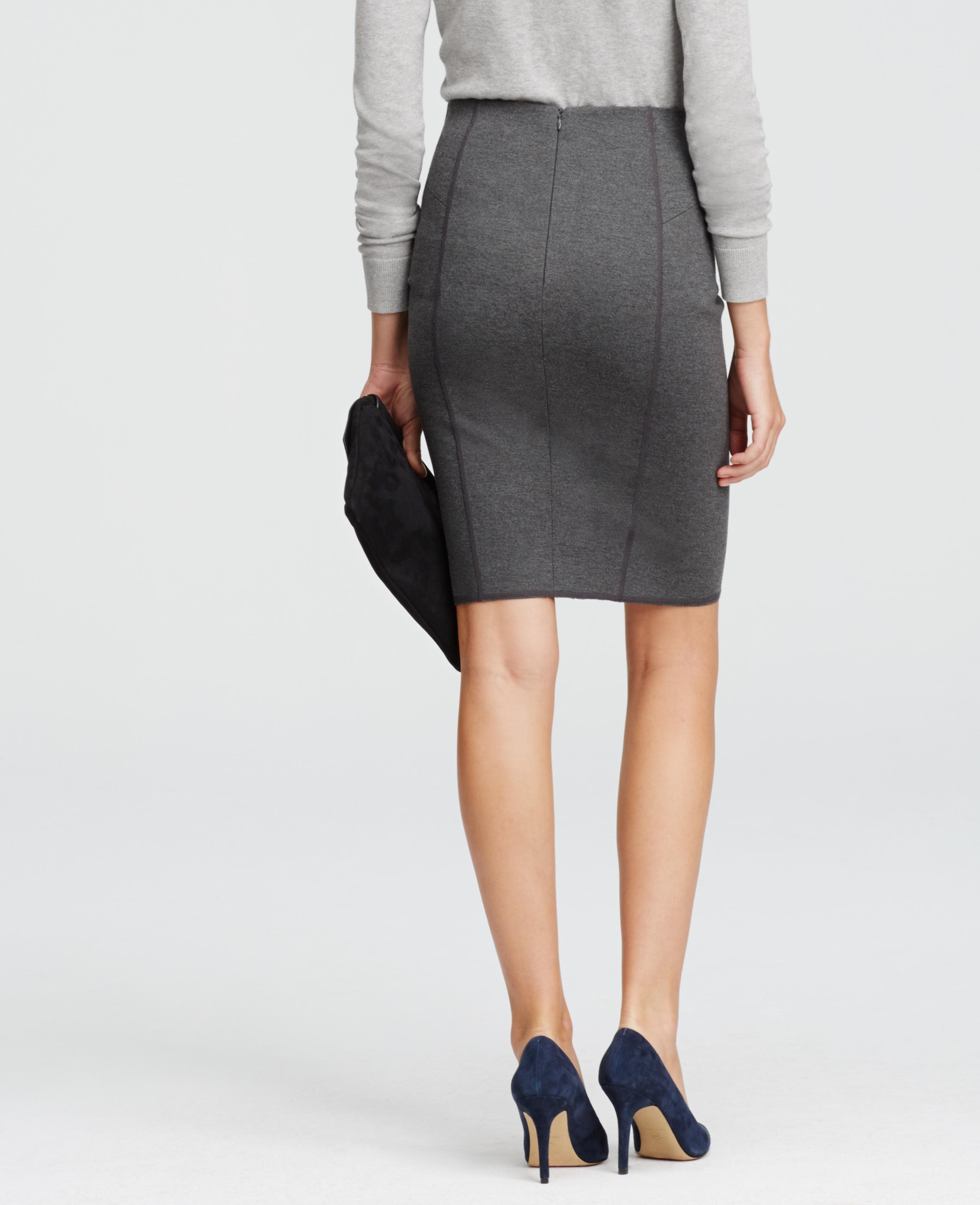 Ann taylor Ponte Pencil Skirt in Gray | Lyst