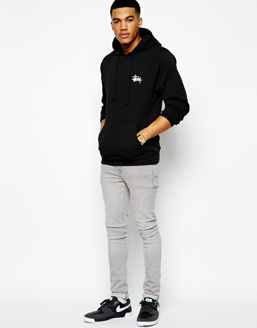 Stussy Hoodie Basic Logo Back Print In Black For Men Lyst