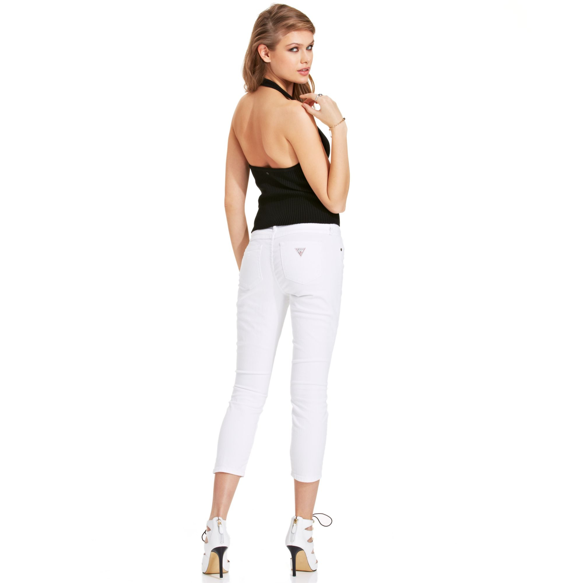 lyst - guess brittney slim destroyed capris jeans in white