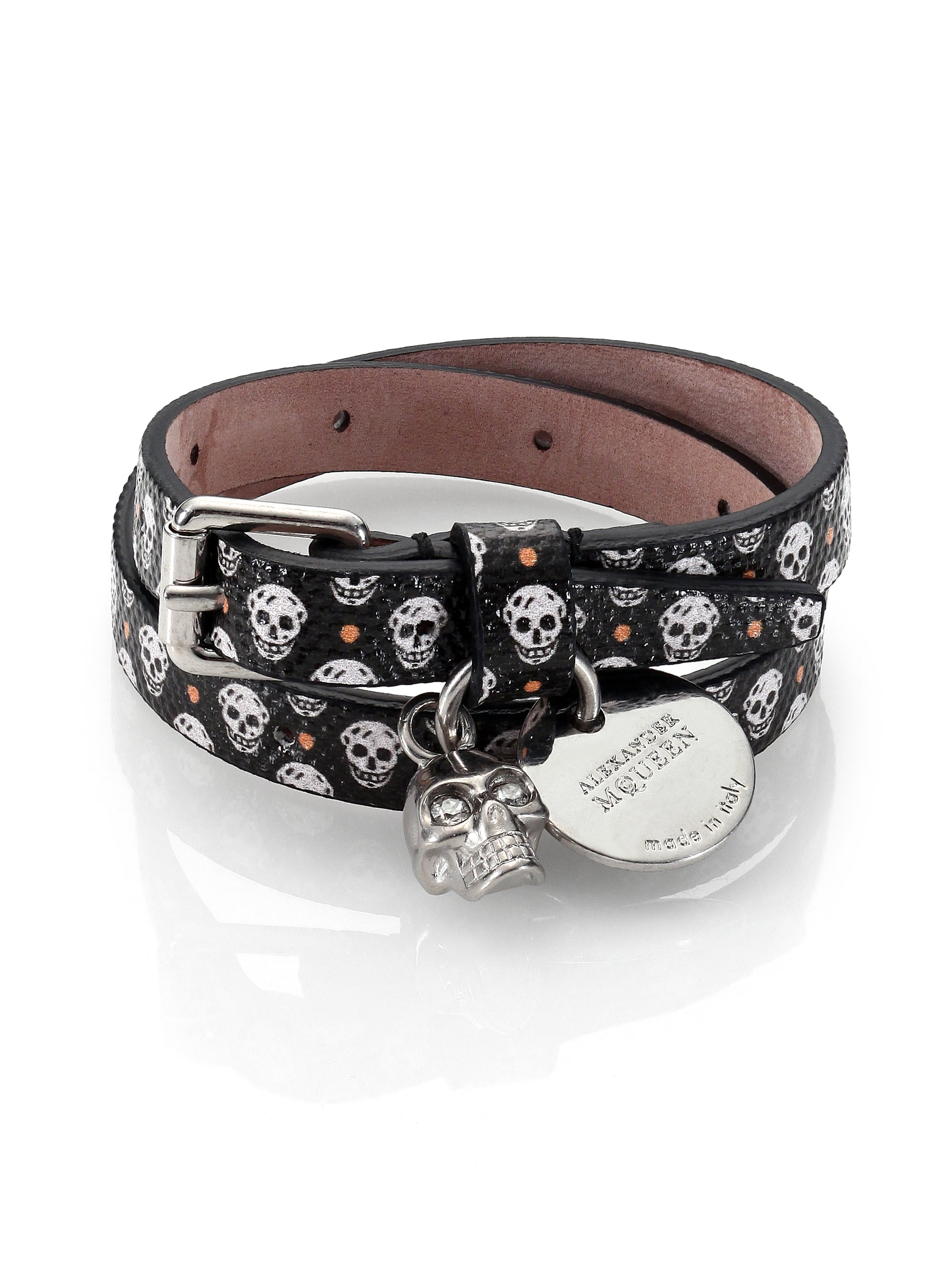 Alexander Mcqueen Printed Leather Bracelet In Black For