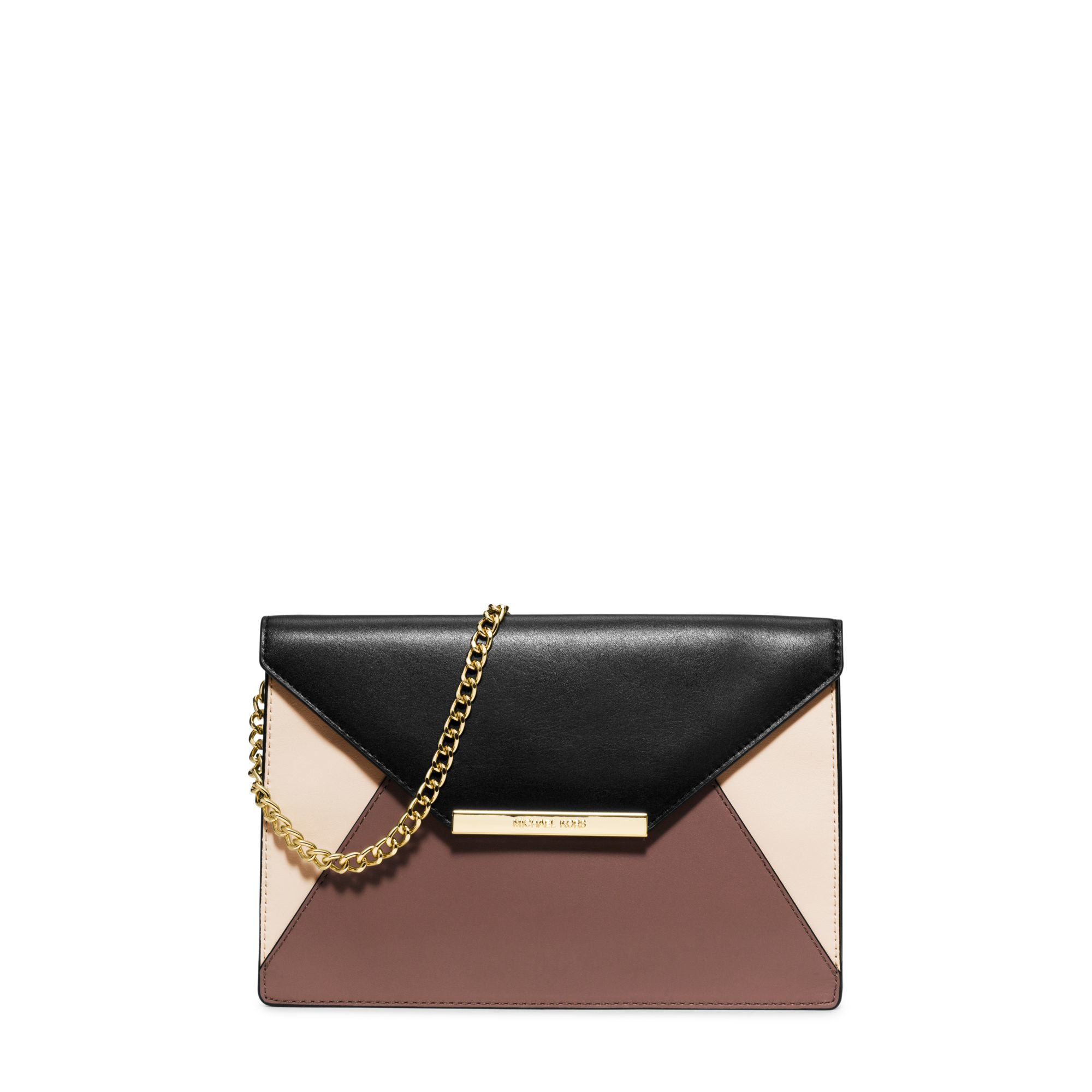 200e5f93469c3 Lyst - Michael Kors Lana Color-block Leather Envelope Clutch in Pink