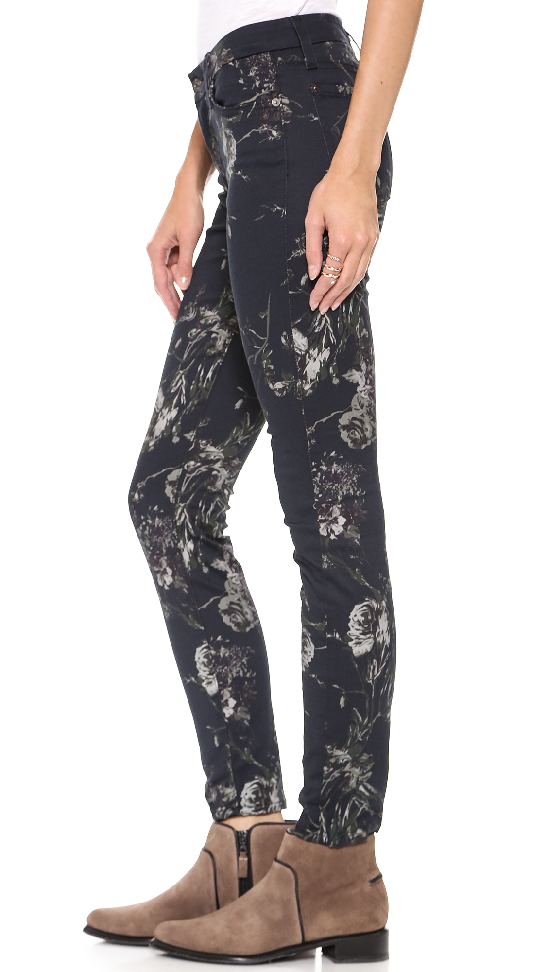 7 for all mankind The Skinny Jeans - Mystic Floral Print | Lyst