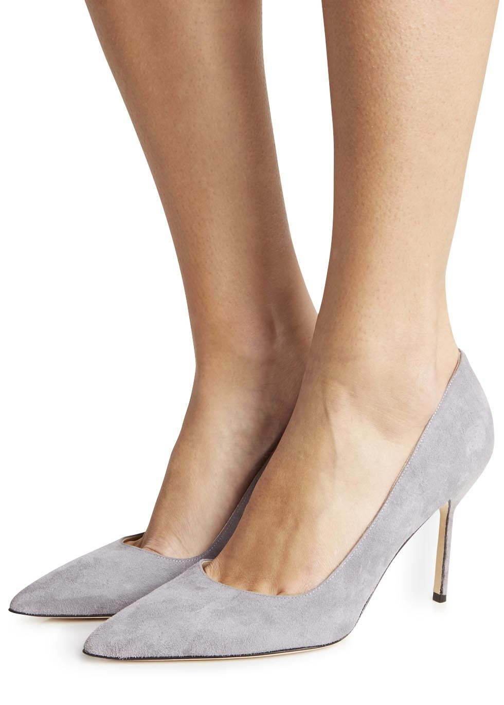 Grey Leather Heel Shoes