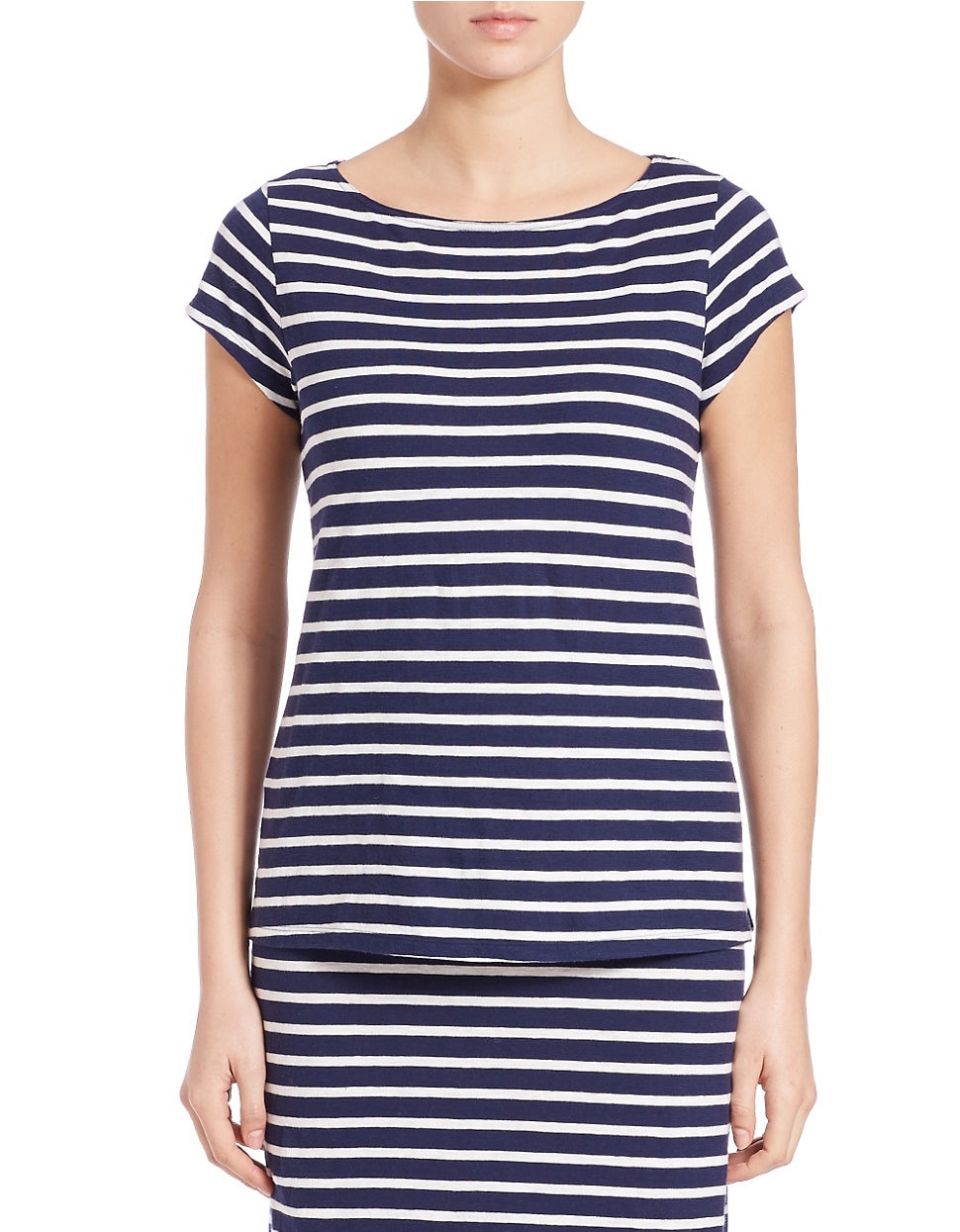 Lyst eileen fisher petite striped organic cotton tee in blue for Eileen fisher organic cotton t shirt