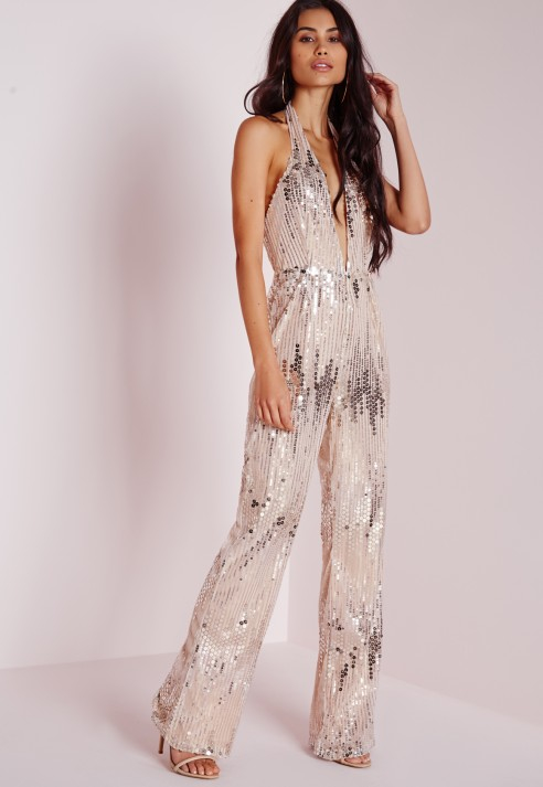 Missguided Sequin Halterneck Jumpsuit Silver in Silver | Lyst