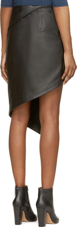 Vetements Black Leather Asymmetric Skirt in Black | Lyst