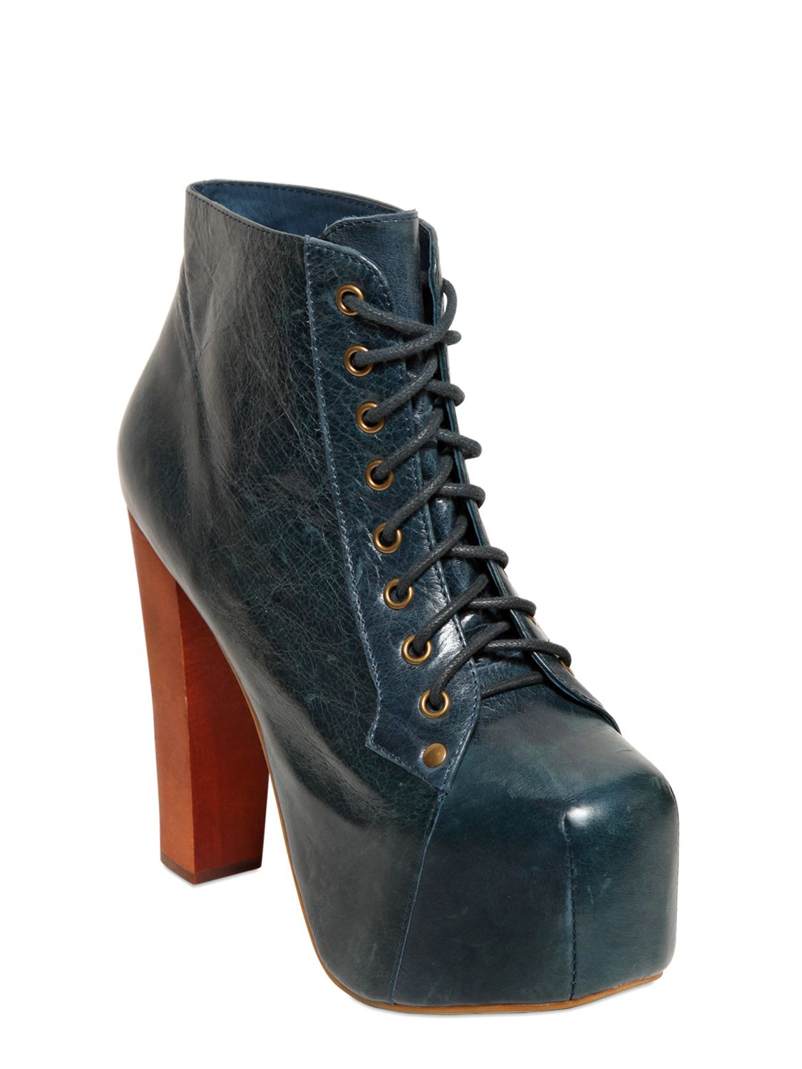 jeffrey campbell 120mm lita distressed leather boots in blue petrol blue lyst. Black Bedroom Furniture Sets. Home Design Ideas