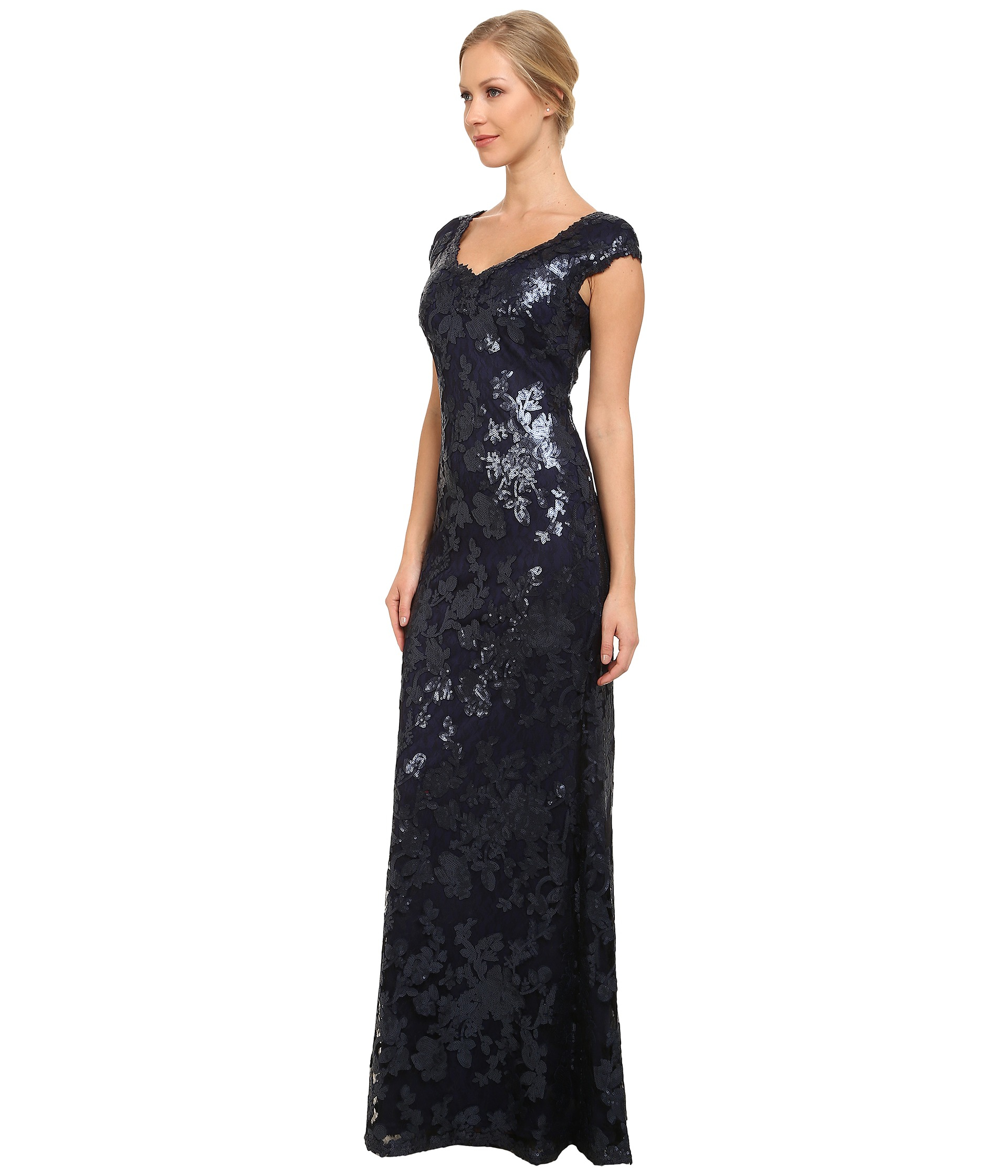 Lyst - Adrianna Papell Sequin Lace Cap Sleeve Gown in Blue