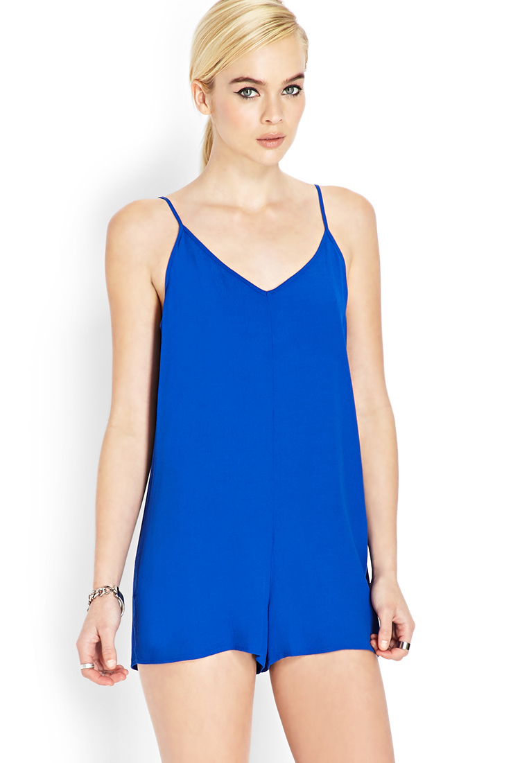 14d9d201c78 Lyst - Forever 21 Crepe Woven Cami Romper in Blue