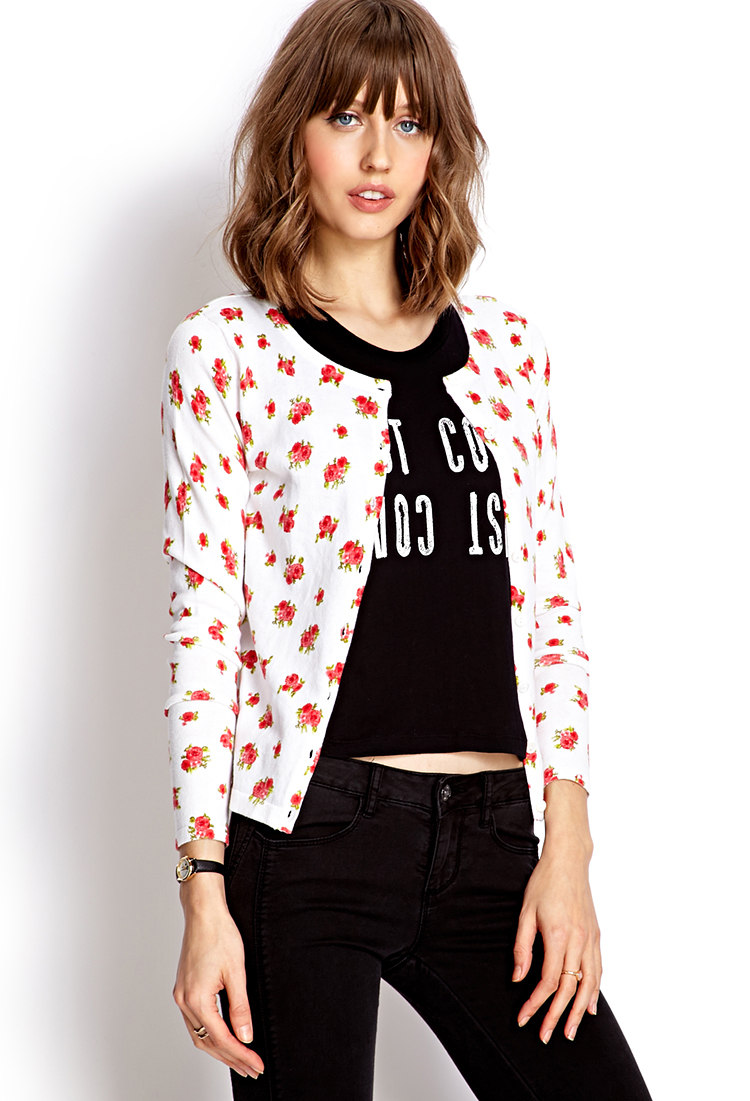 Lyst Forever 21 Darling Floral Cardigan In Red