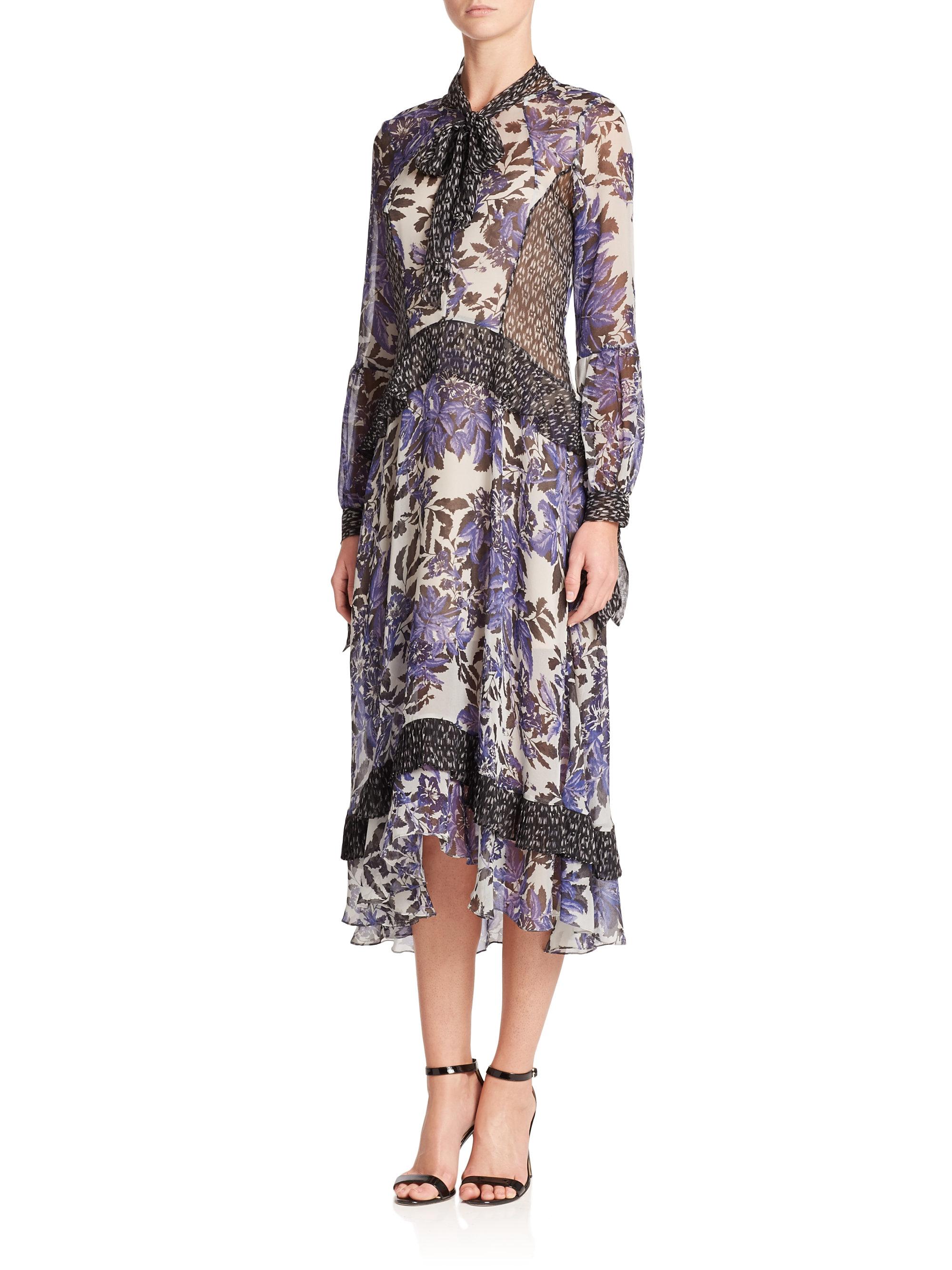 Buy Newest Buy Cheap Classic V-neck ruffle silk dress Rebecca Taylor Cheap Sale Browse 2ALgkT