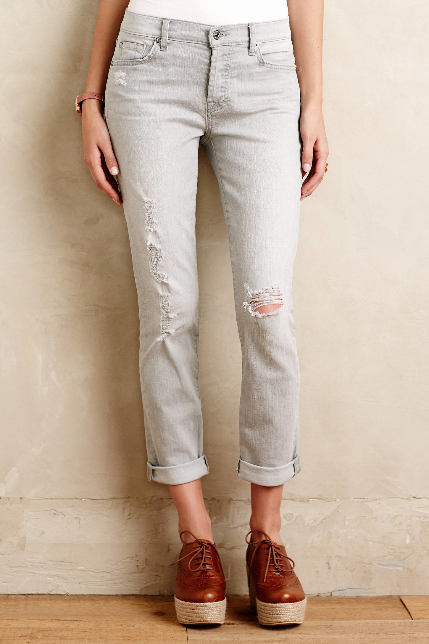 7 for all mankind Josefina Jeans in Gray | Lyst