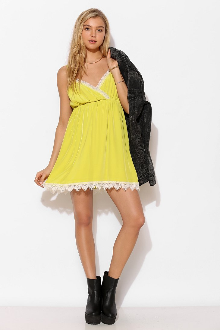 Urban Outfitters Cope Lacetrim Surplice Slip Dress in Yellow (CHARTREUSE) | Lyst