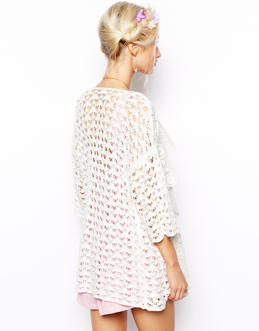 Asos Waterfall Cardigan in Crochet in White | Lyst