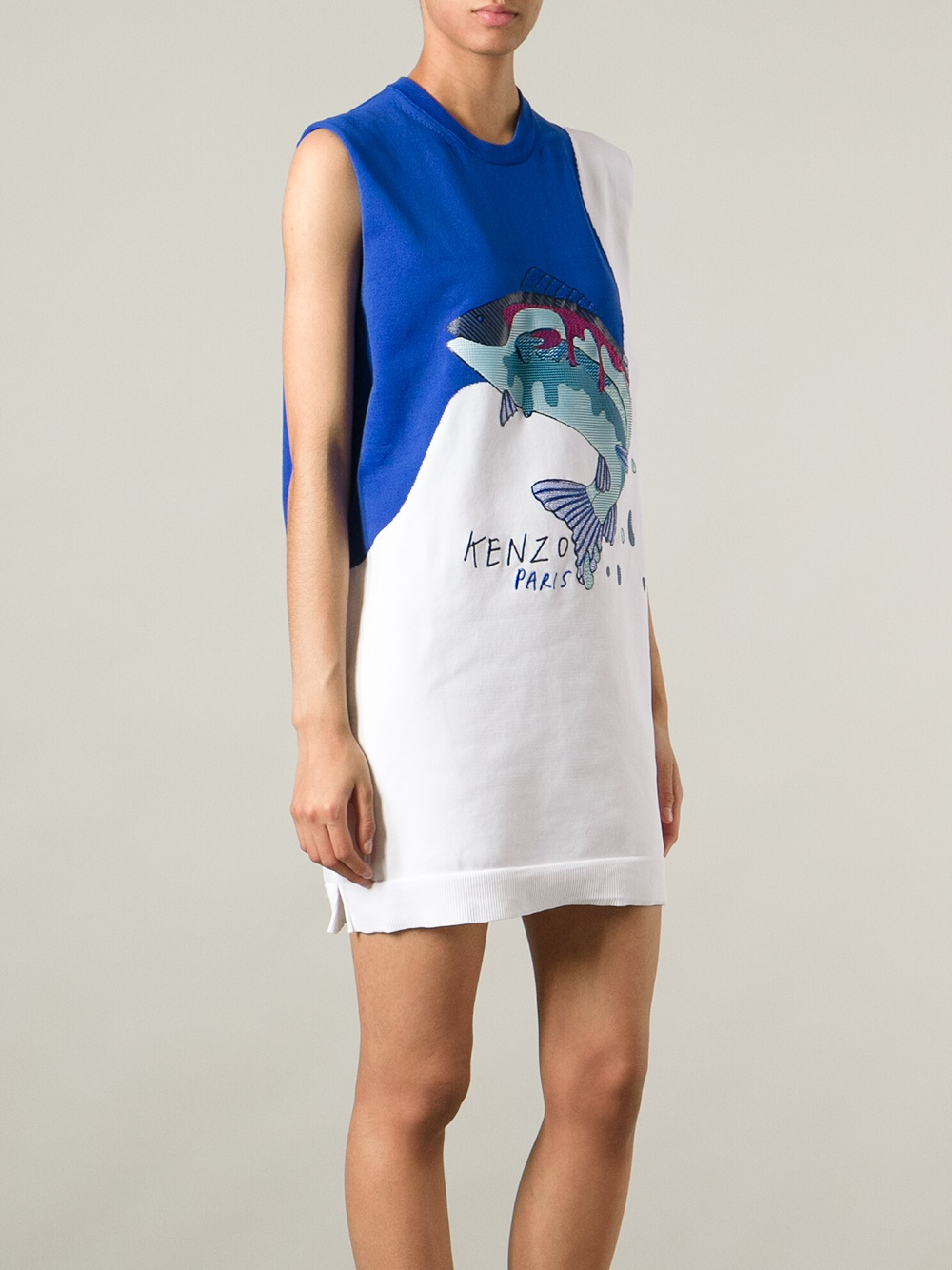 Lyst kenzo embellished fish print dress in white for Fish print dress