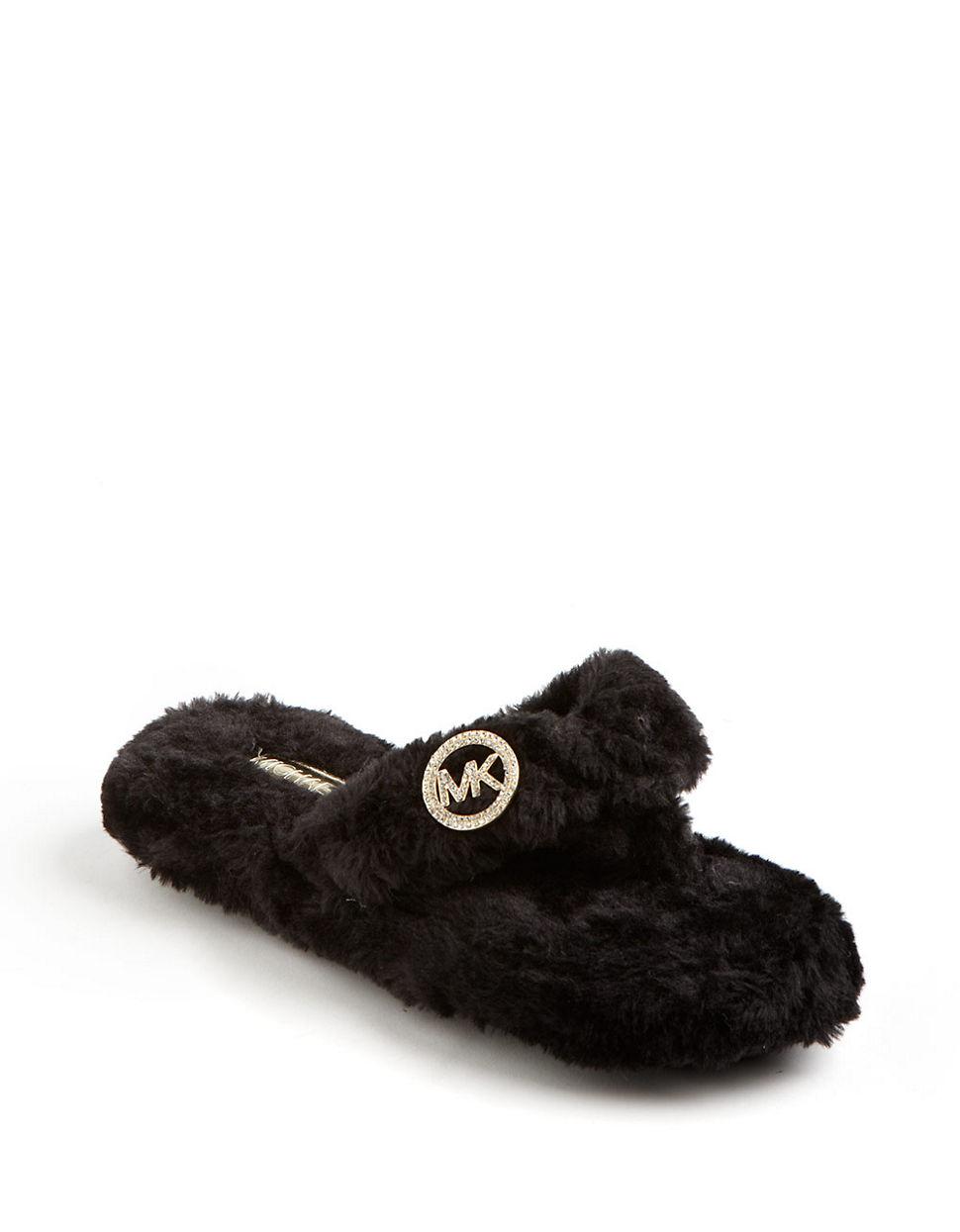 121ef50e92cd Source https   www.lyst.com shoes michael-by-michael-kors-faux-fur-thong- slippers-black