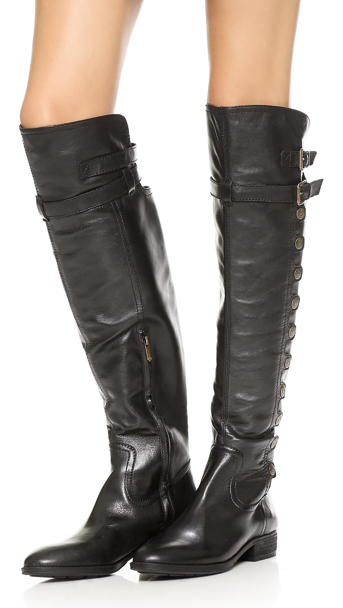 5f6e4fc84e6 Sam Edelman Pierce Over The Knee Button Boots Black in Black - Lyst