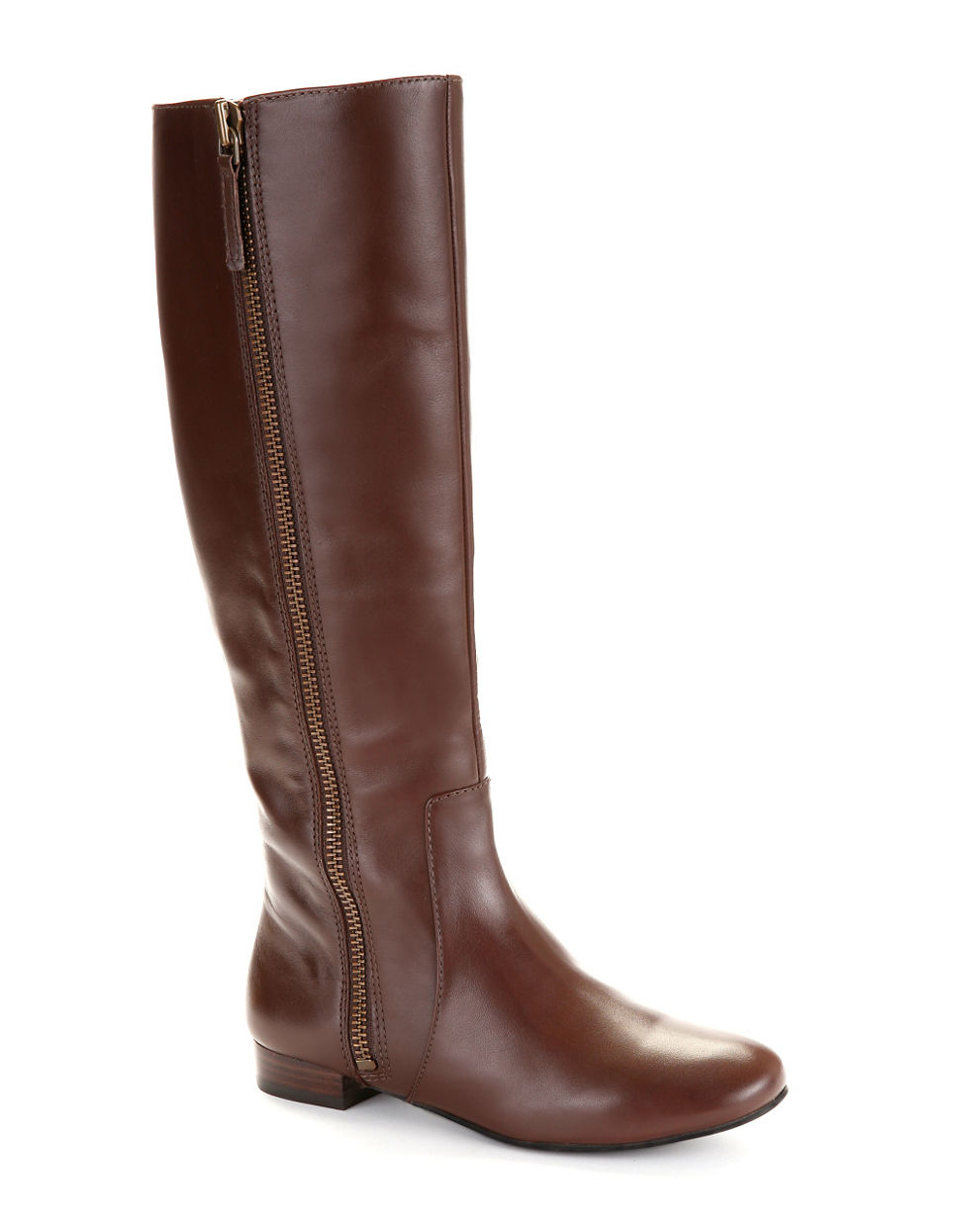 nine west port leather boots in brown lyst