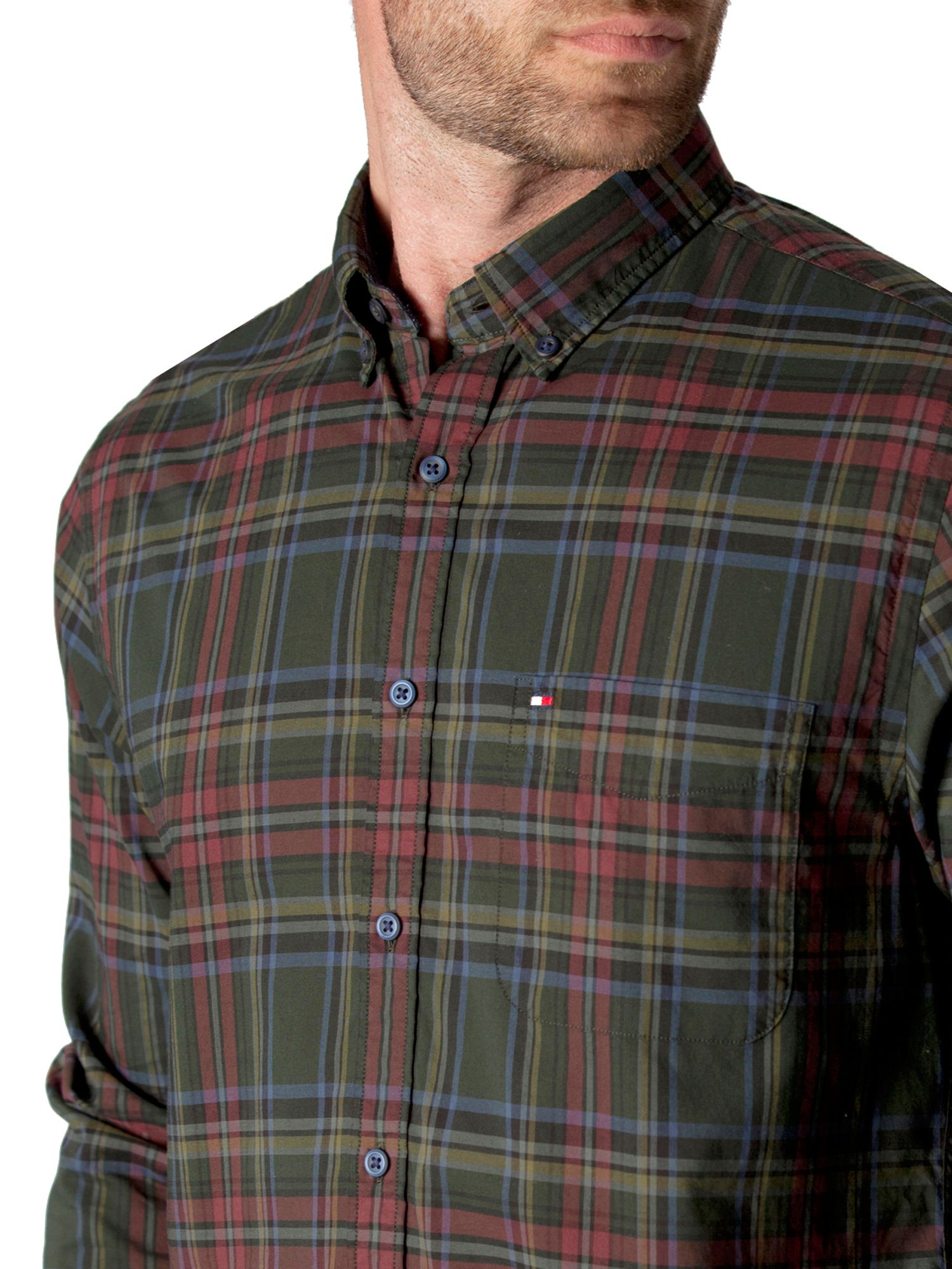 Tommy hilfiger chad check cotton shirt in green for men lyst for Cheap tommy hilfiger dress shirts
