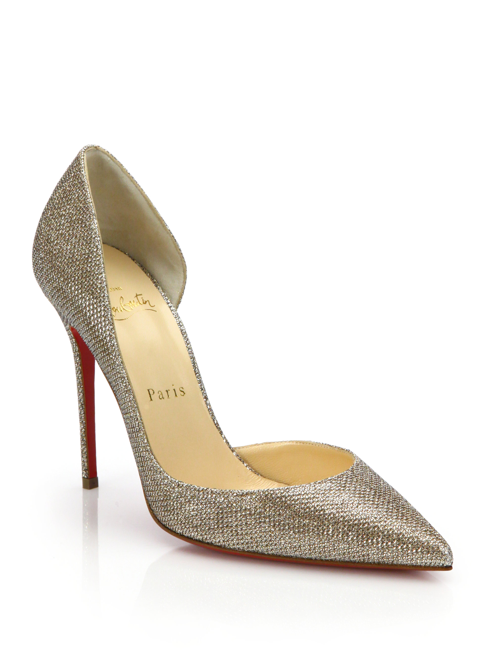 christian louboutins price - Christian louboutin Iriza Lam�� D'orsay Pumps in Gold | Lyst