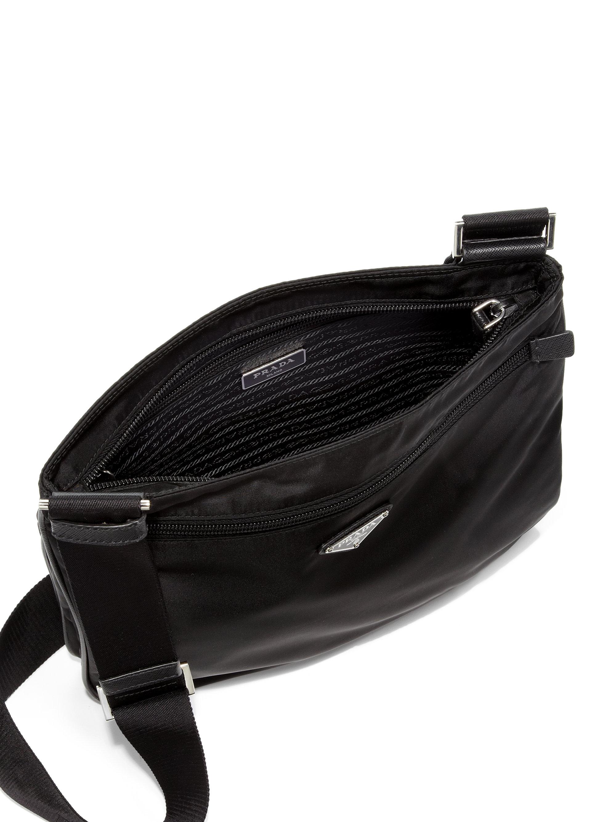 a013fb5c7df5 ... italy lyst prada nylon messenger bag in black for men 0b51f 2bbba