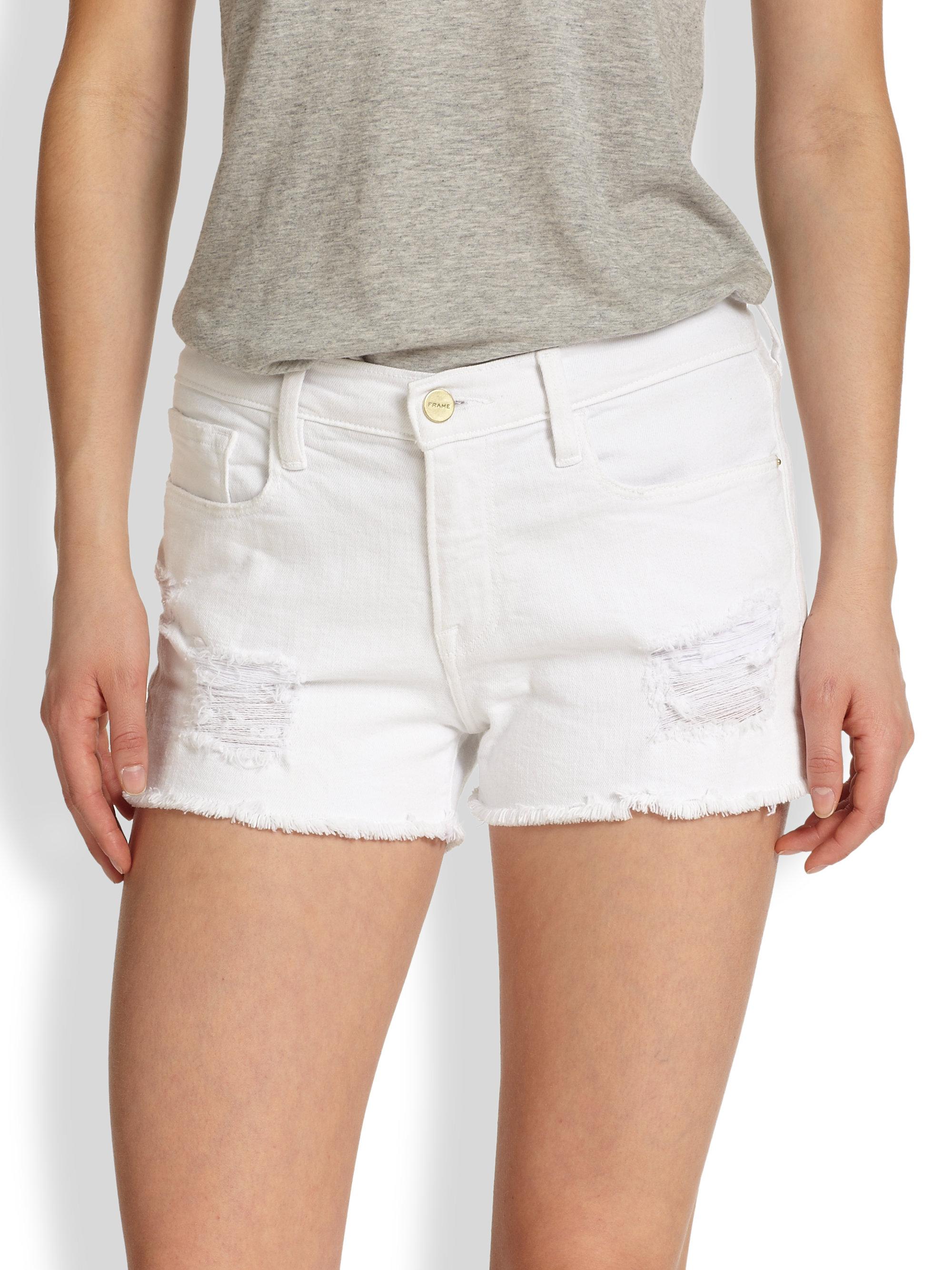 Frame Cut Off Denim Shorts in White | Lyst