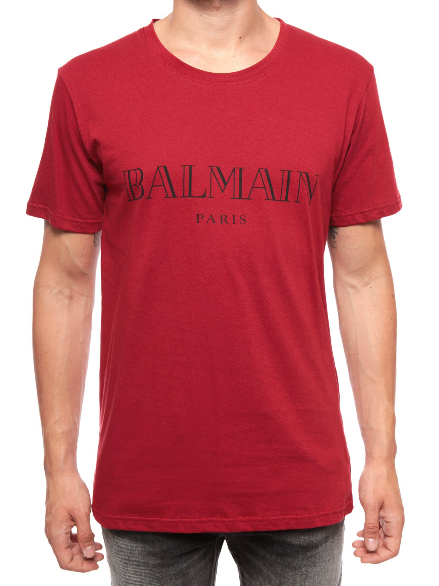 balmain t shirt con stampa in red for men rosso lyst. Black Bedroom Furniture Sets. Home Design Ideas