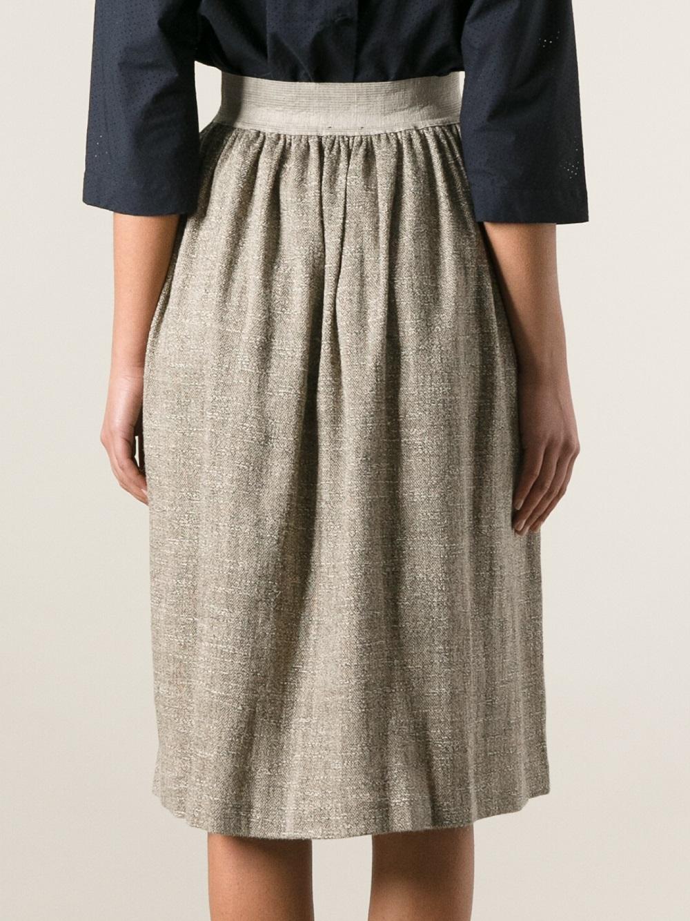 Forte forte Flared Skirt in Gray | Lyst