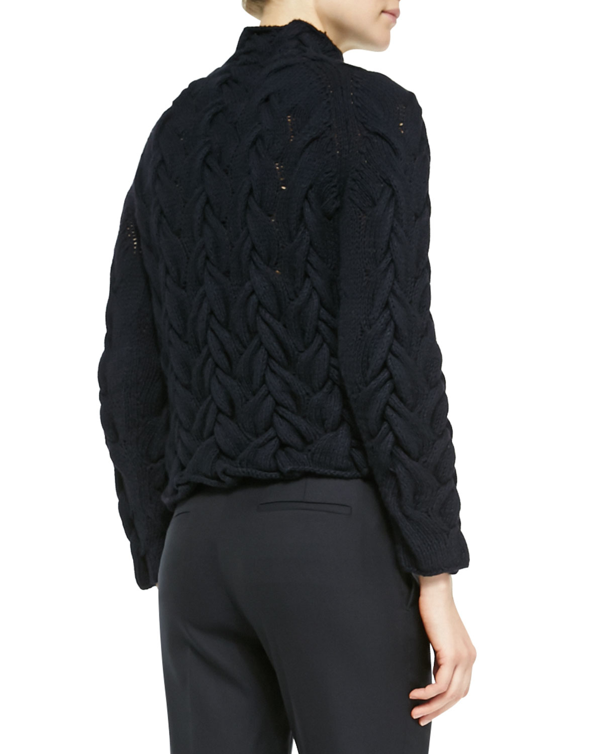 The row Long-sleeve Chunky Cable-knit Cashmere Sweater in Black | Lyst