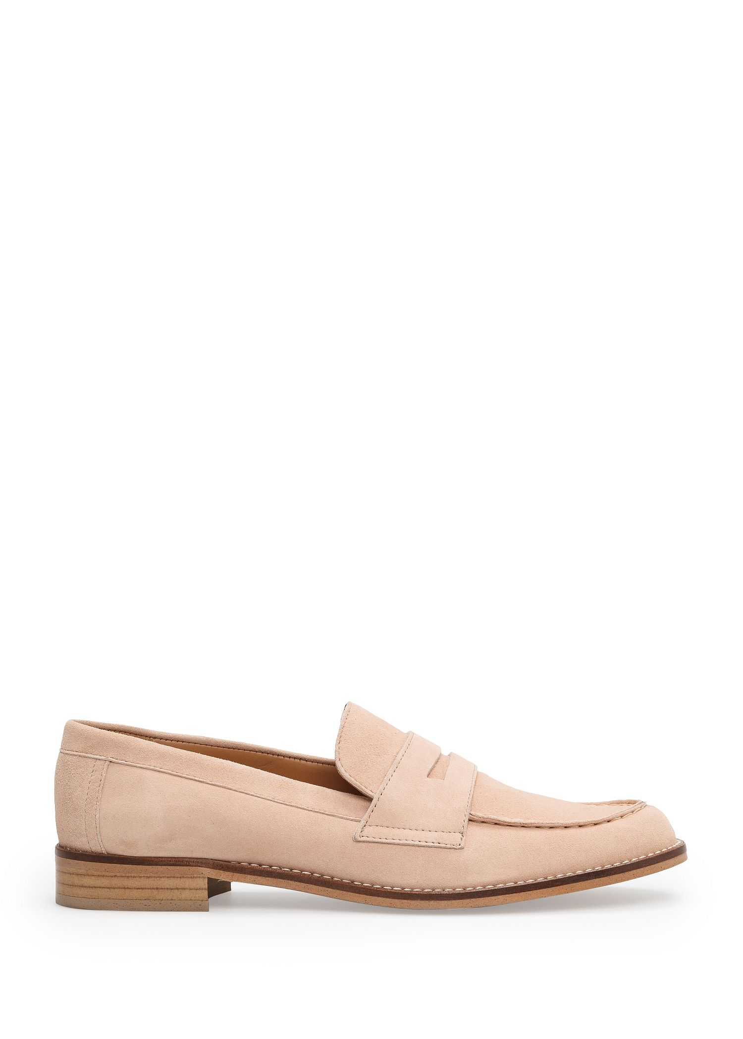 b36bab6cbb1 Lyst - Mango Leather Penny Loafers in Natural