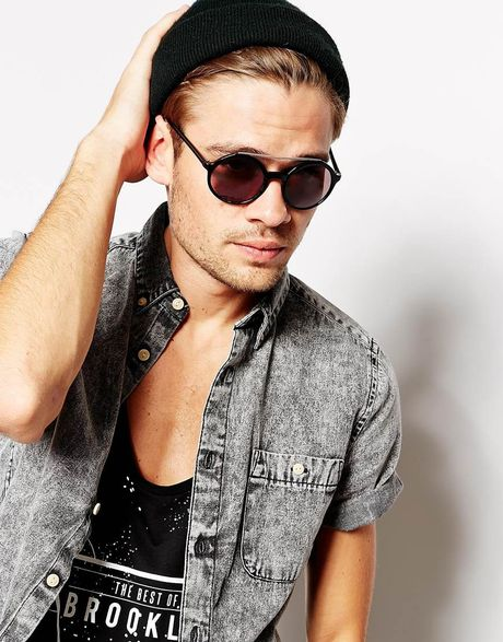 Gold Sunglasses Mens Men Asos Round Sunglasses